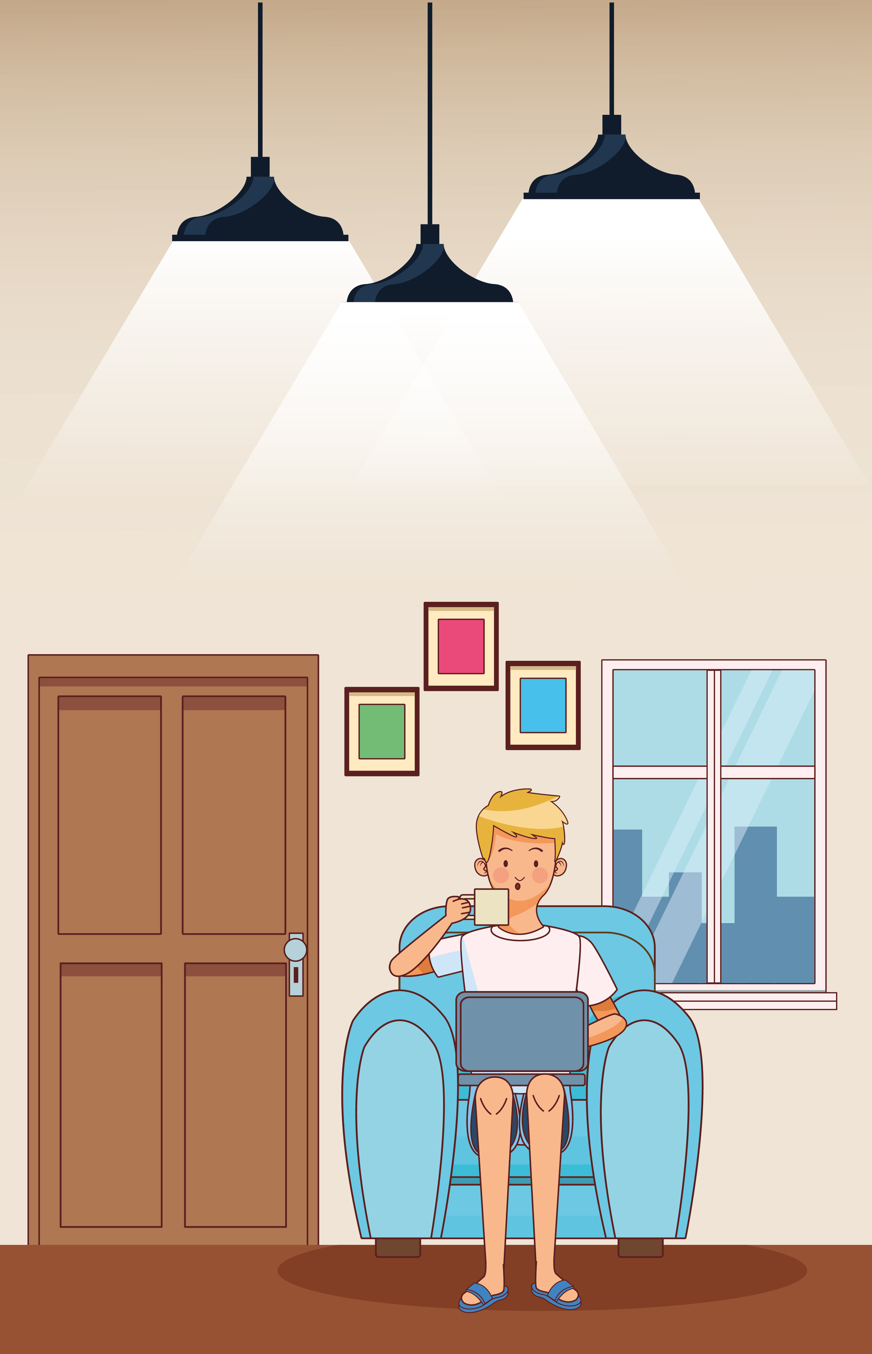 Work at home young man on chair vector