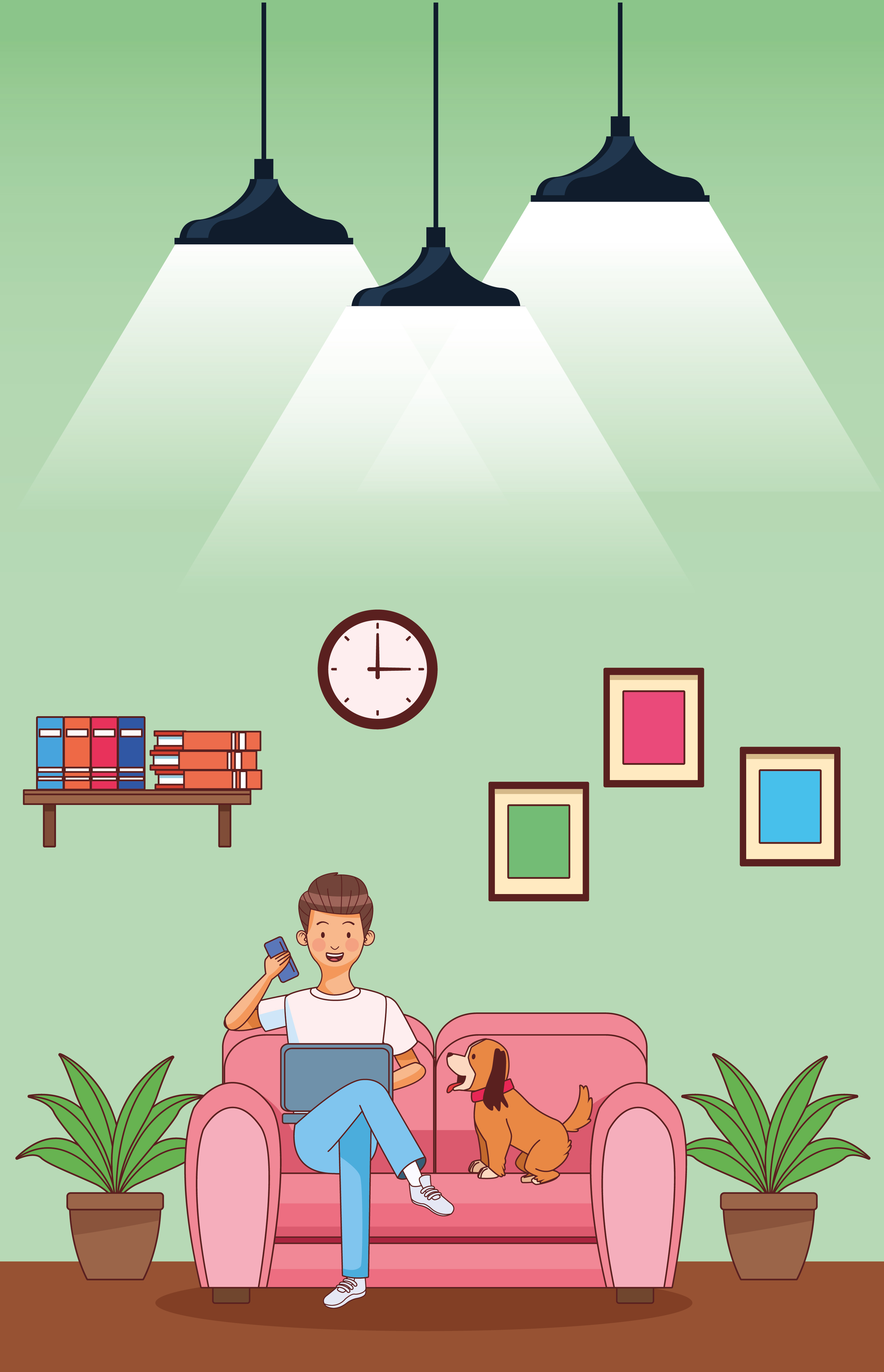 Work at home young man on sofa vector
