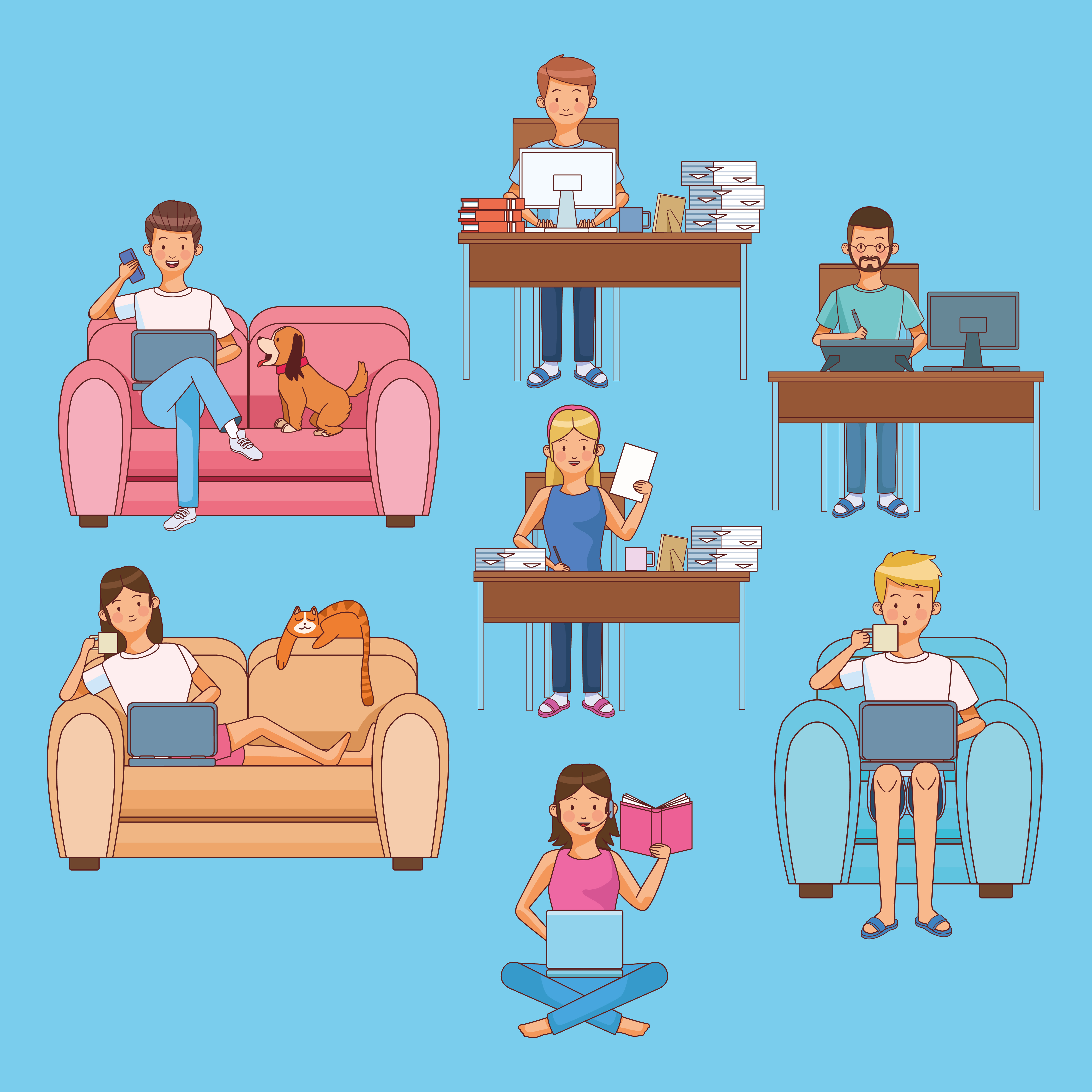 Set of scenes of people working at home