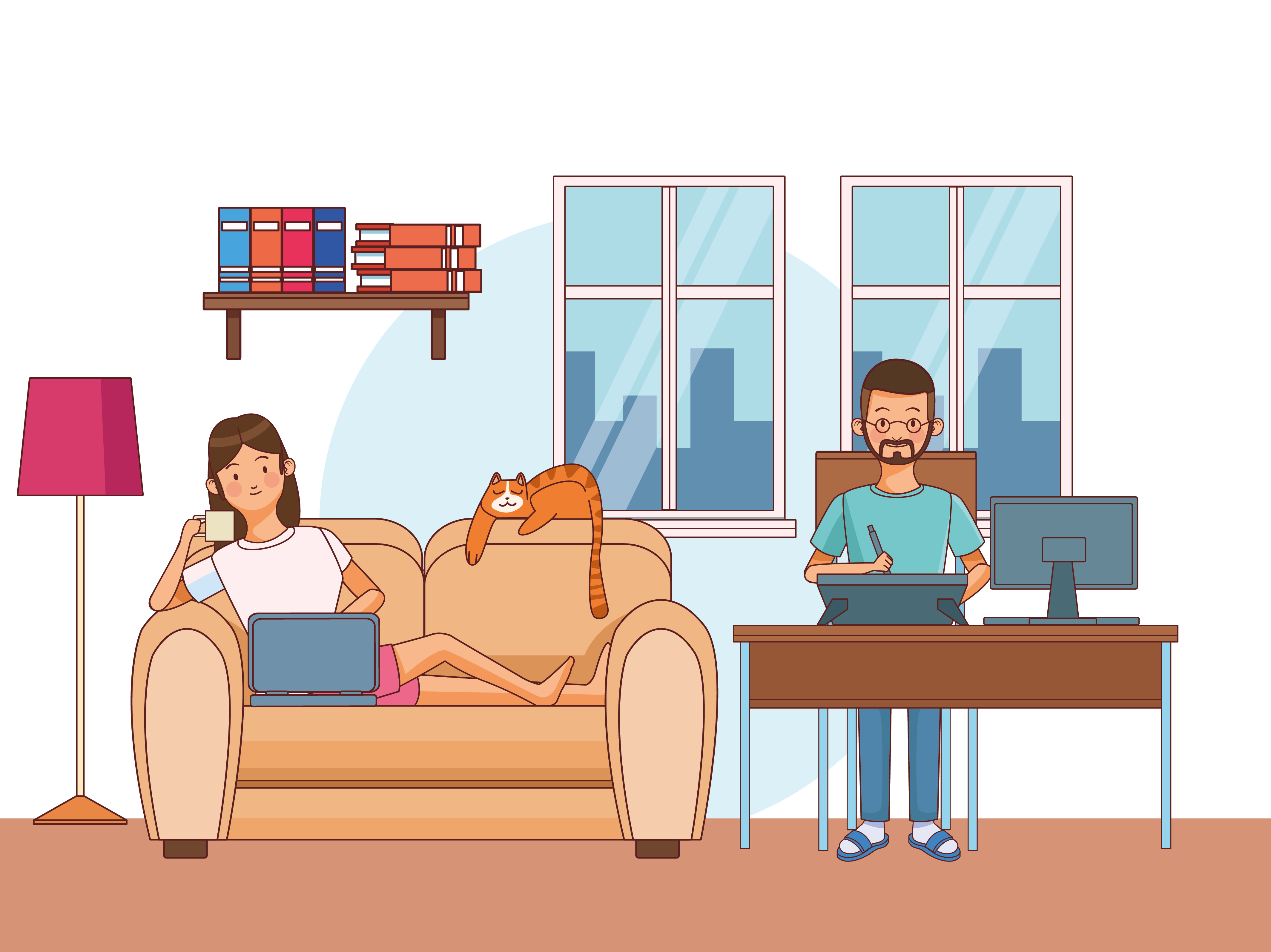 Work at home couple  vector