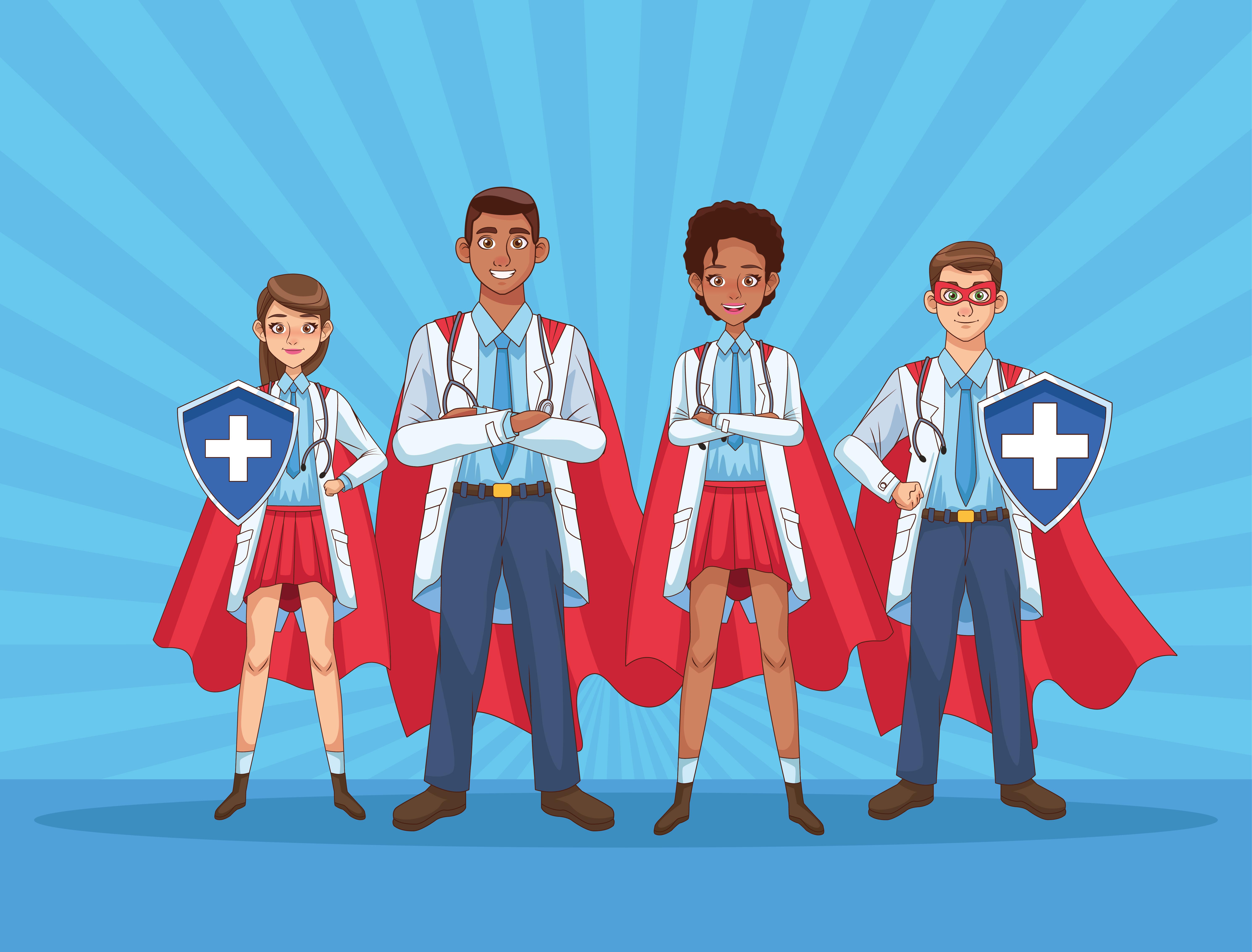 personal de súper médicos con capas de héroe y escudo