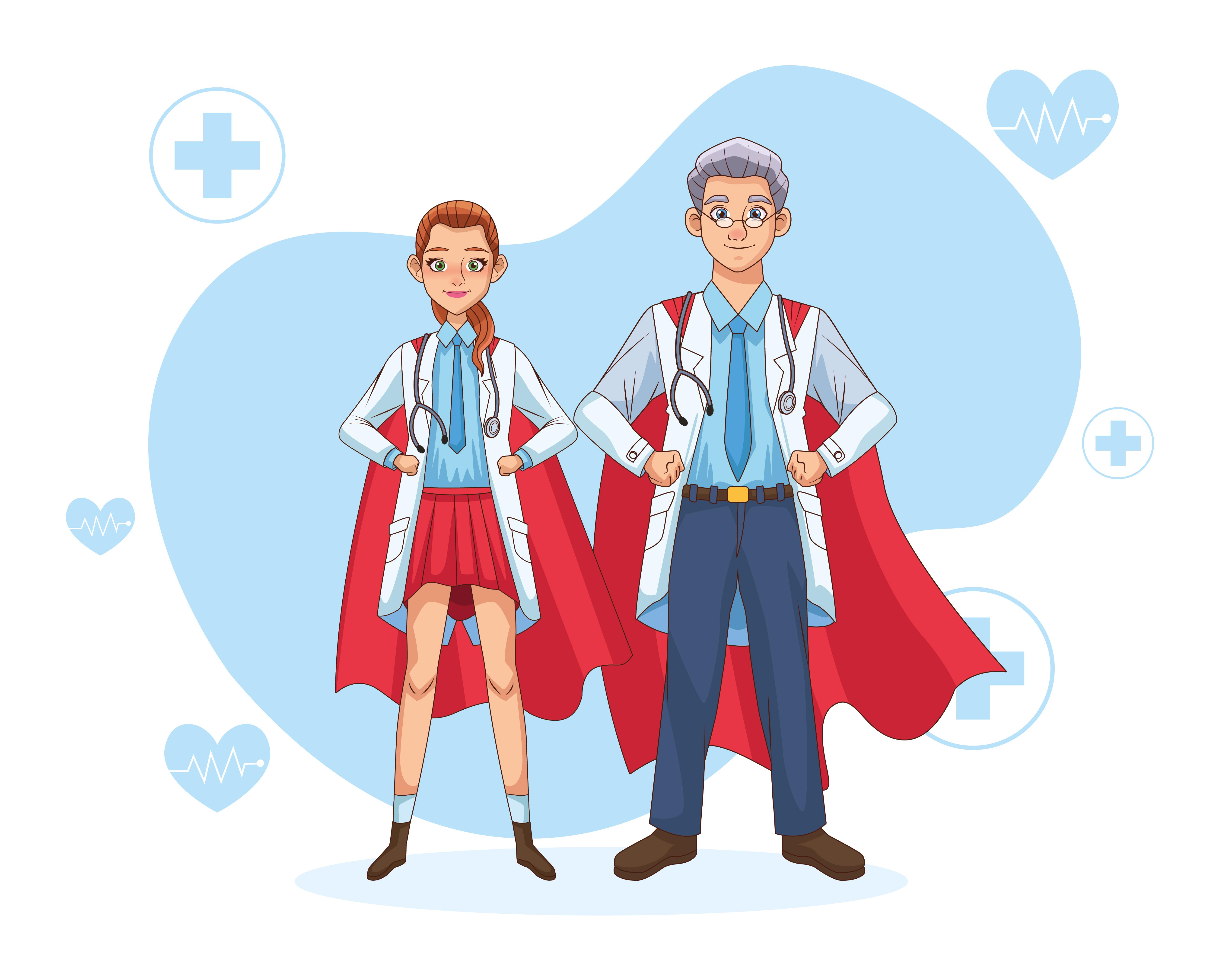 pareja de súper doctores con capa de héroe