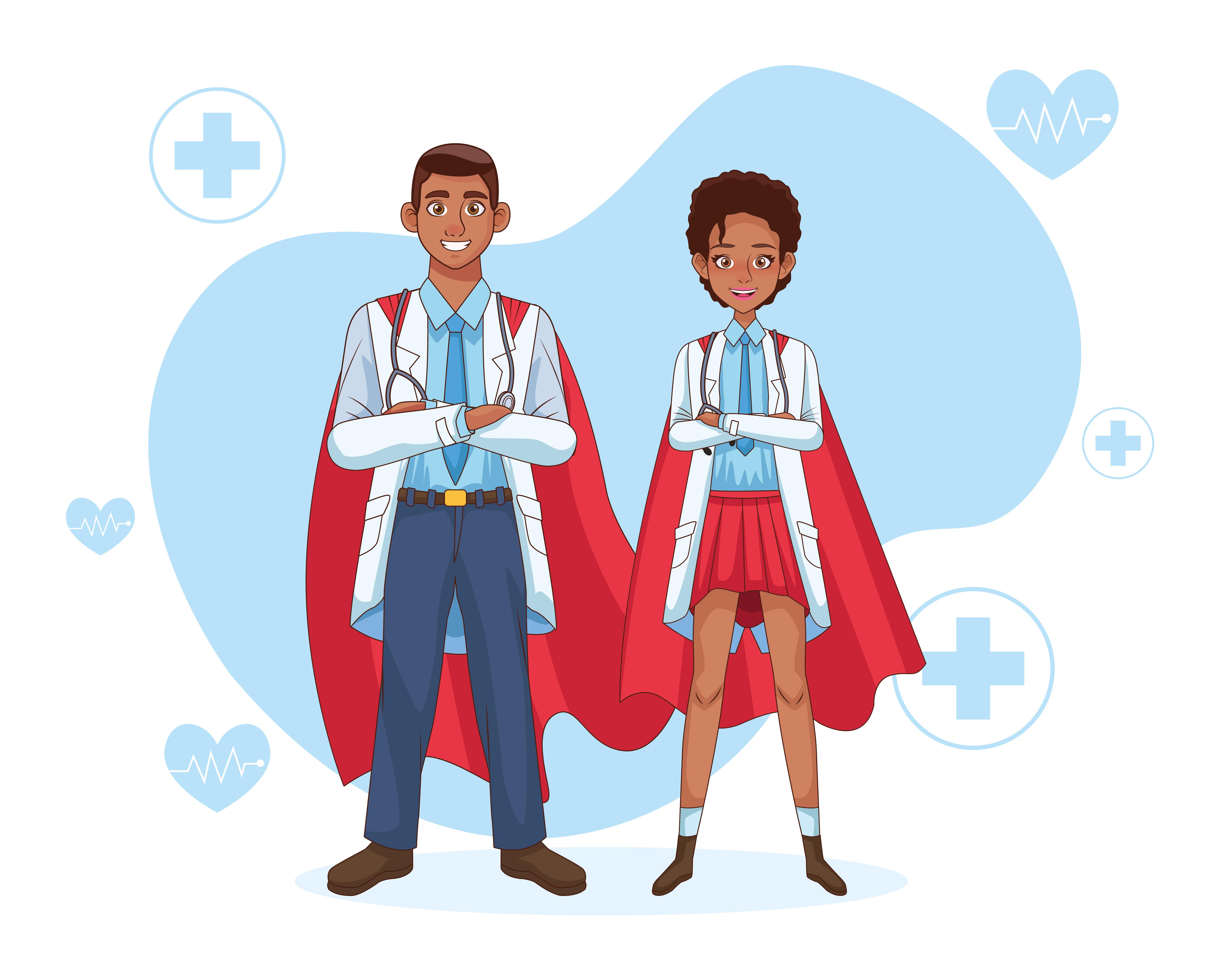 super doctor pareja en manto