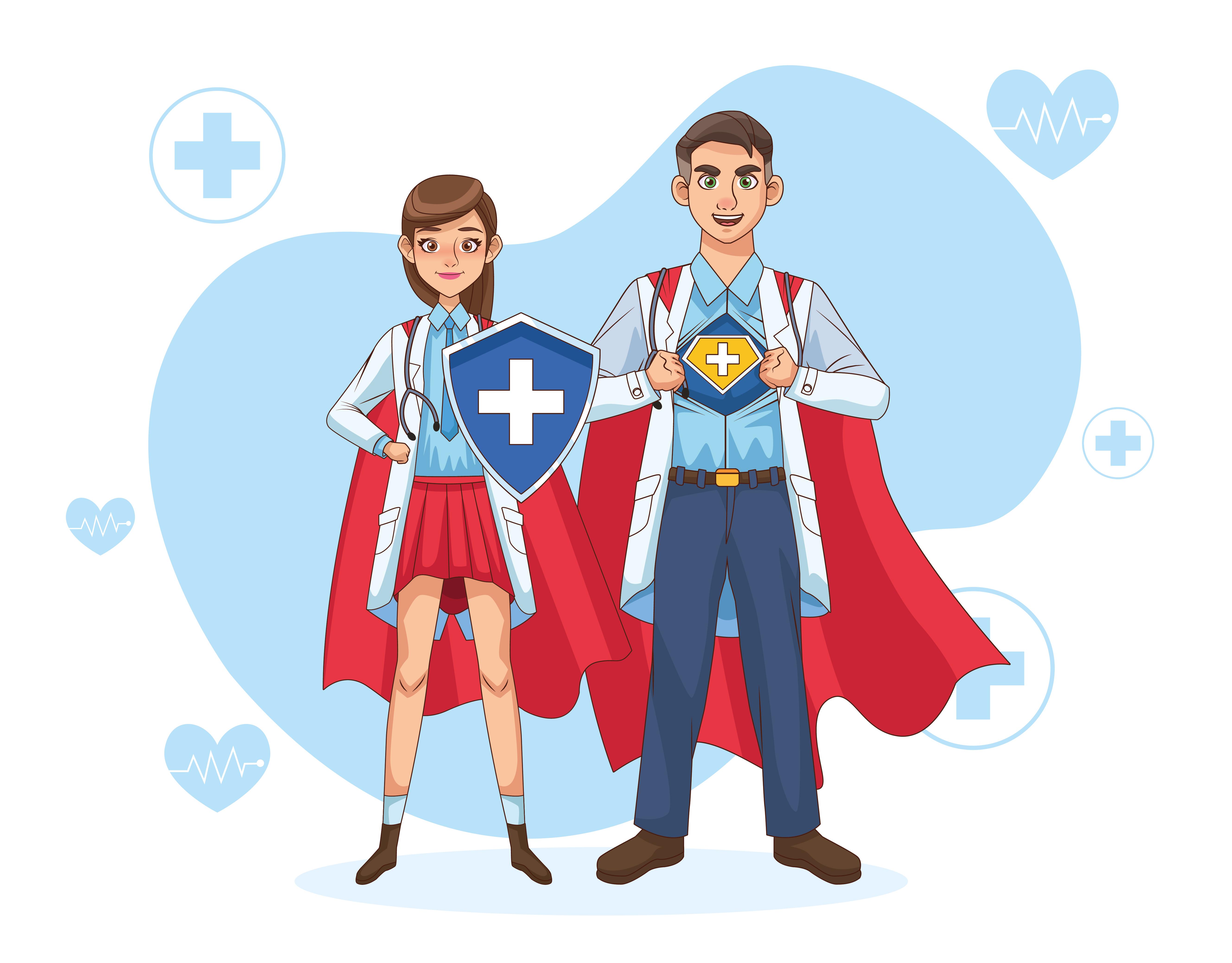 médicos con capa de héroe y escudo.