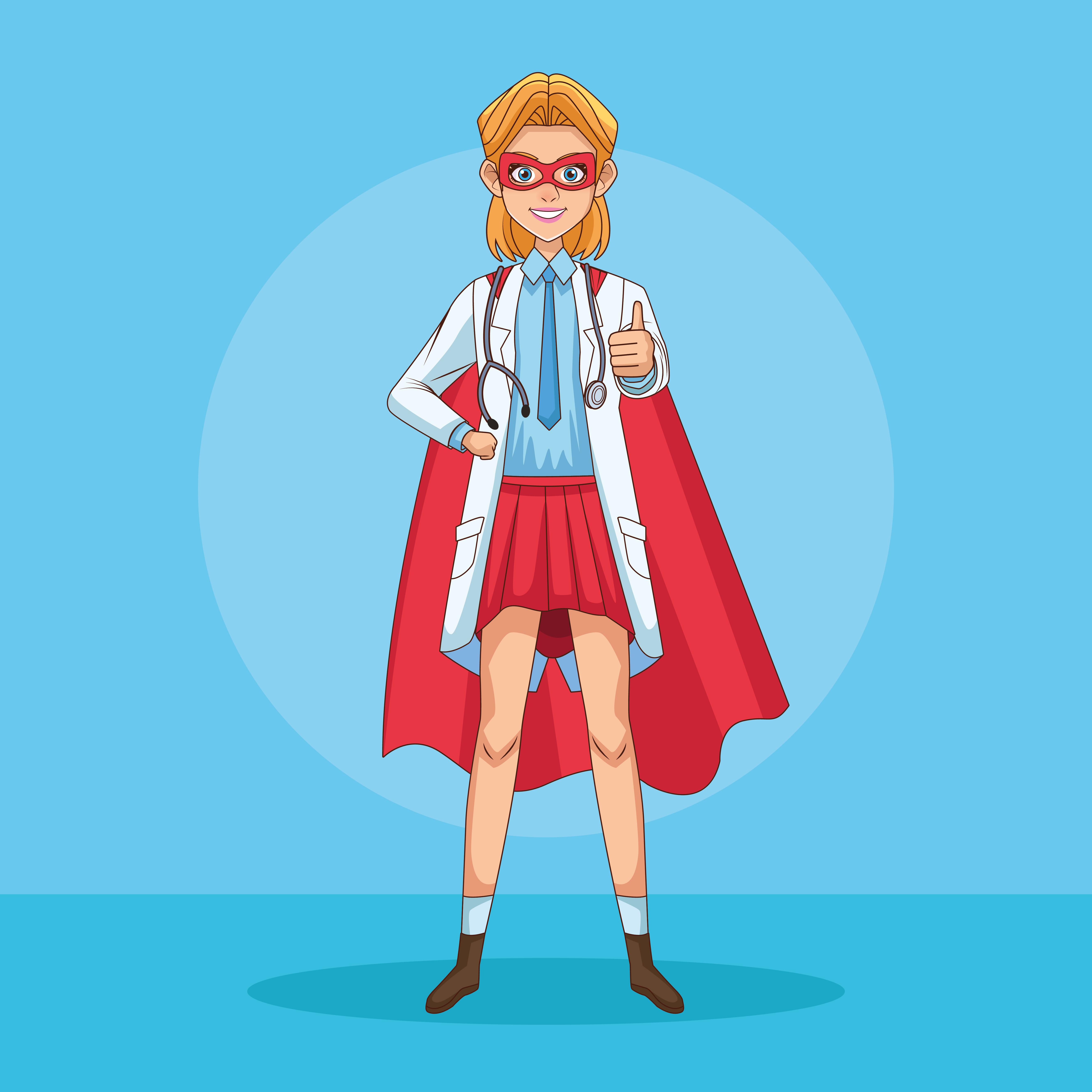 super doctora con mas y capa de héroe