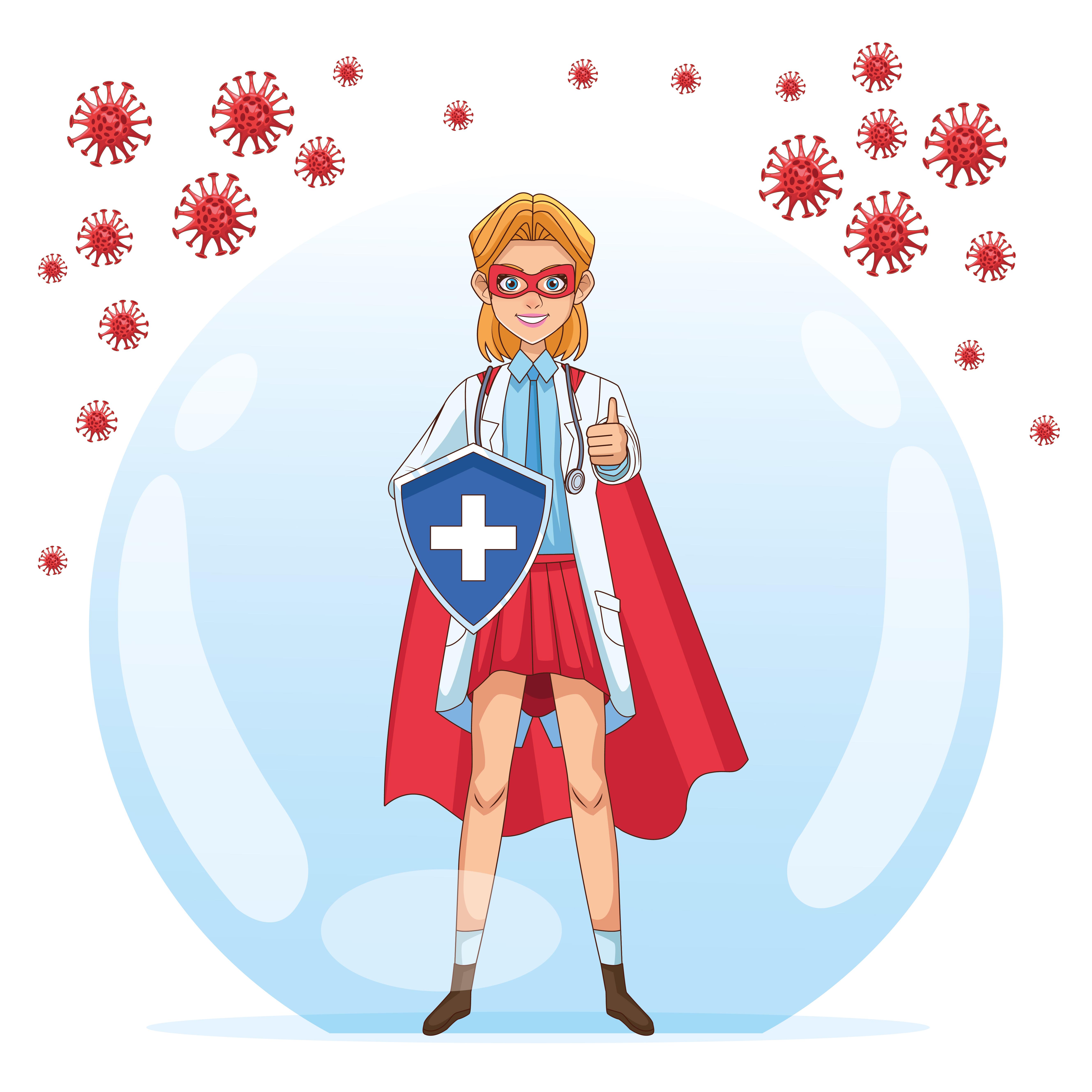 super doctora con escudo vs covid 19 partículas