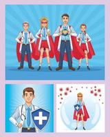 Super doctors staff with hero cloaks and shield  vector