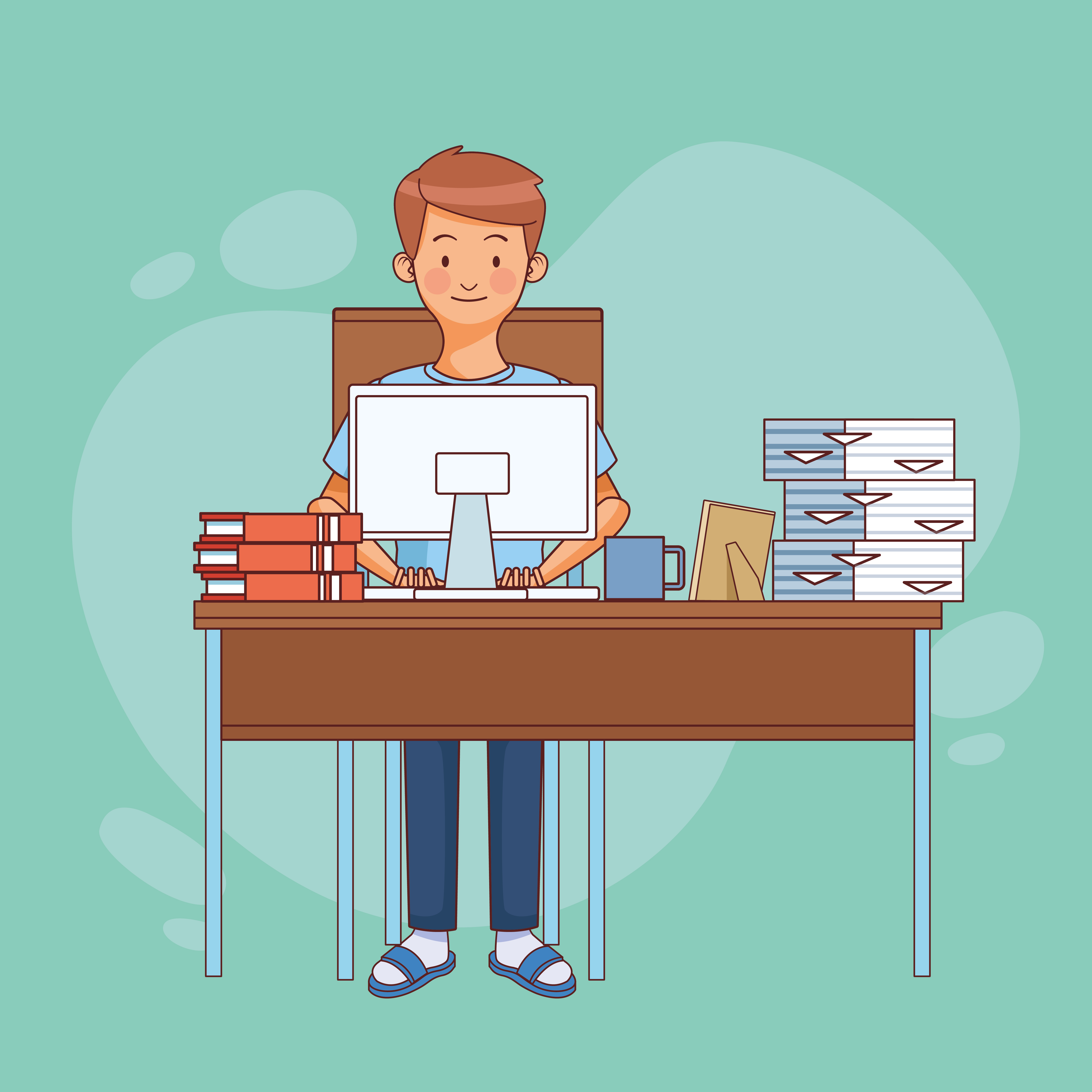 Man sitting at desk working from home vector
