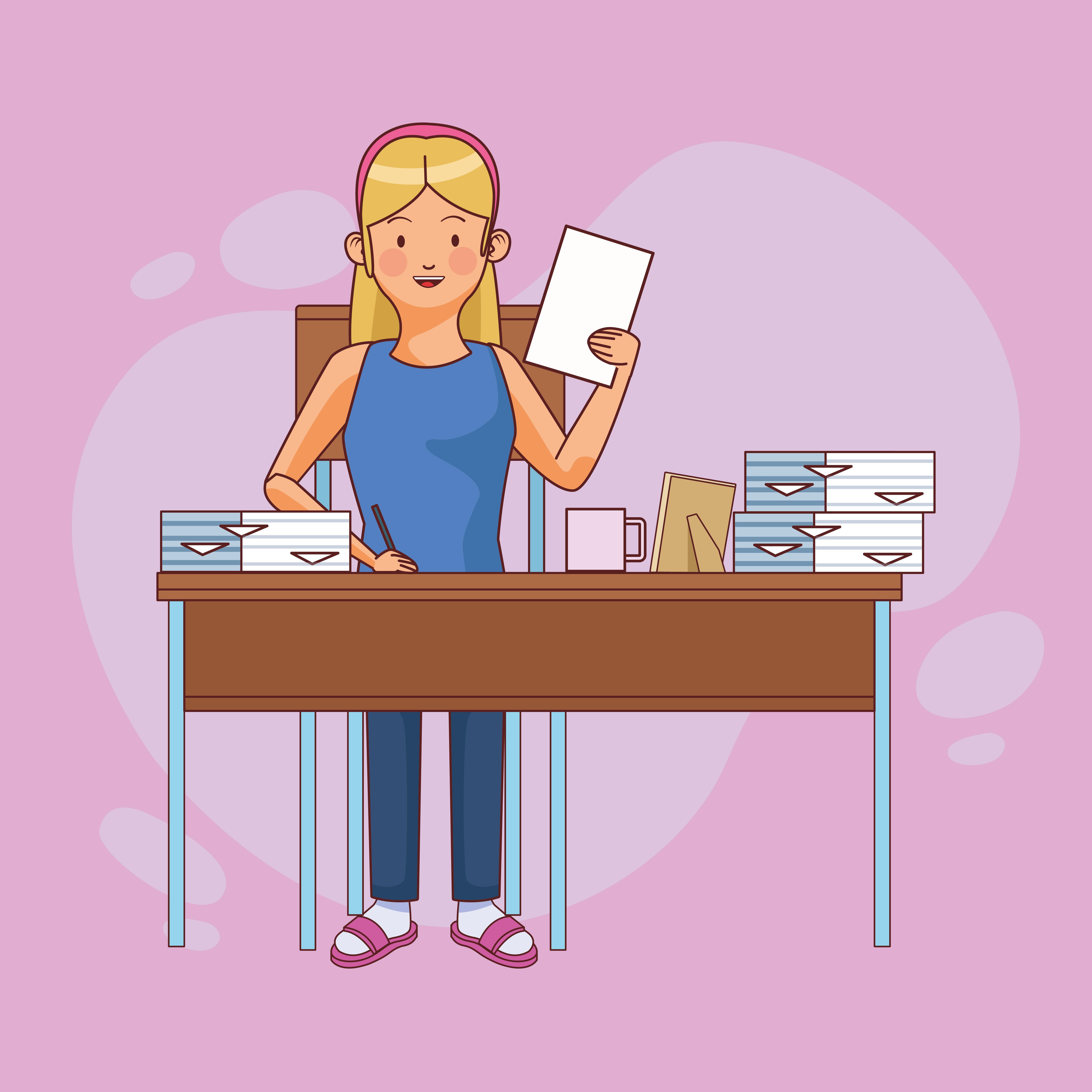 personaje de mujer trabajando en casa con papeles