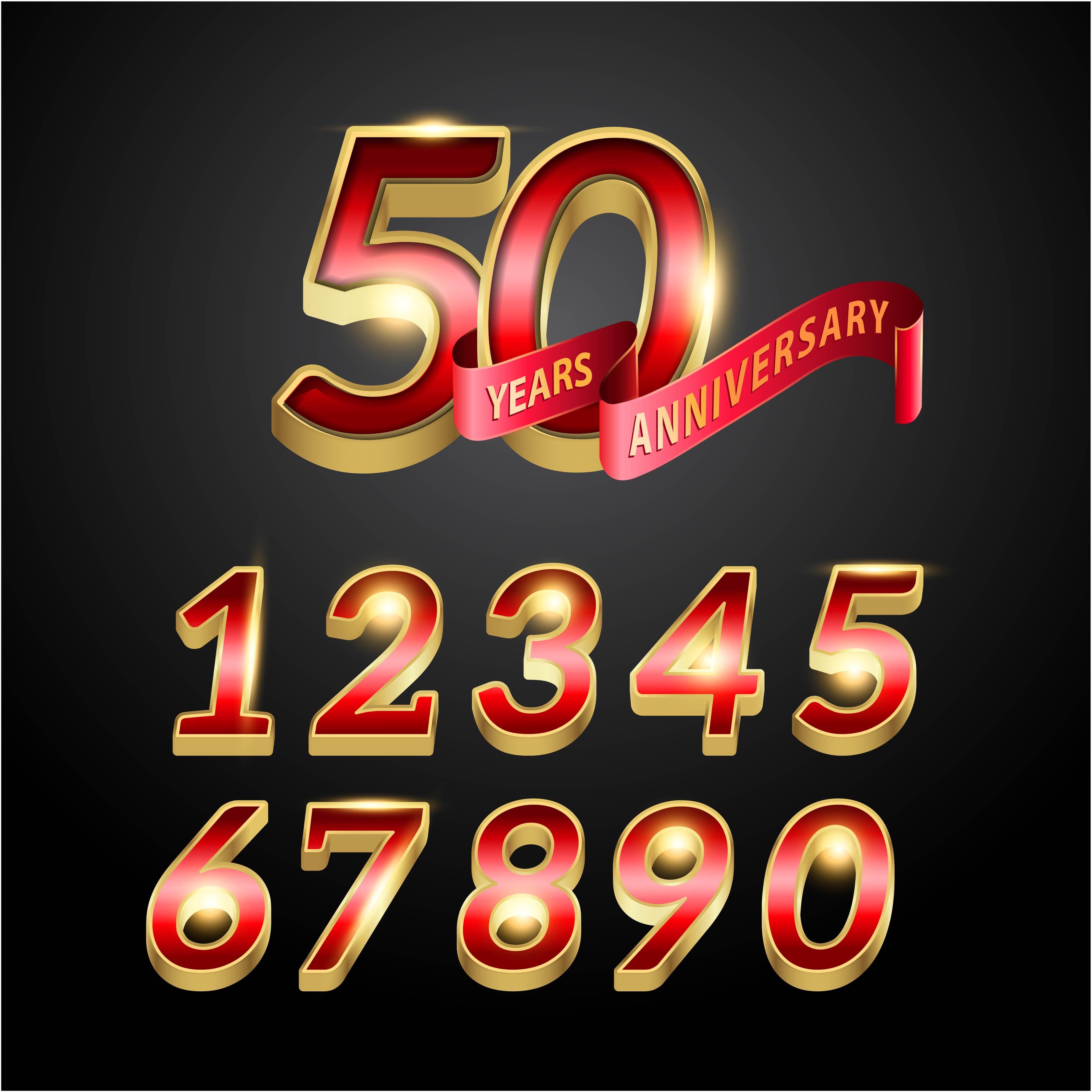 50 años aniversario rojo y dorado