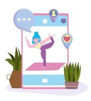 aplicación de entrenamiento de yoga vector