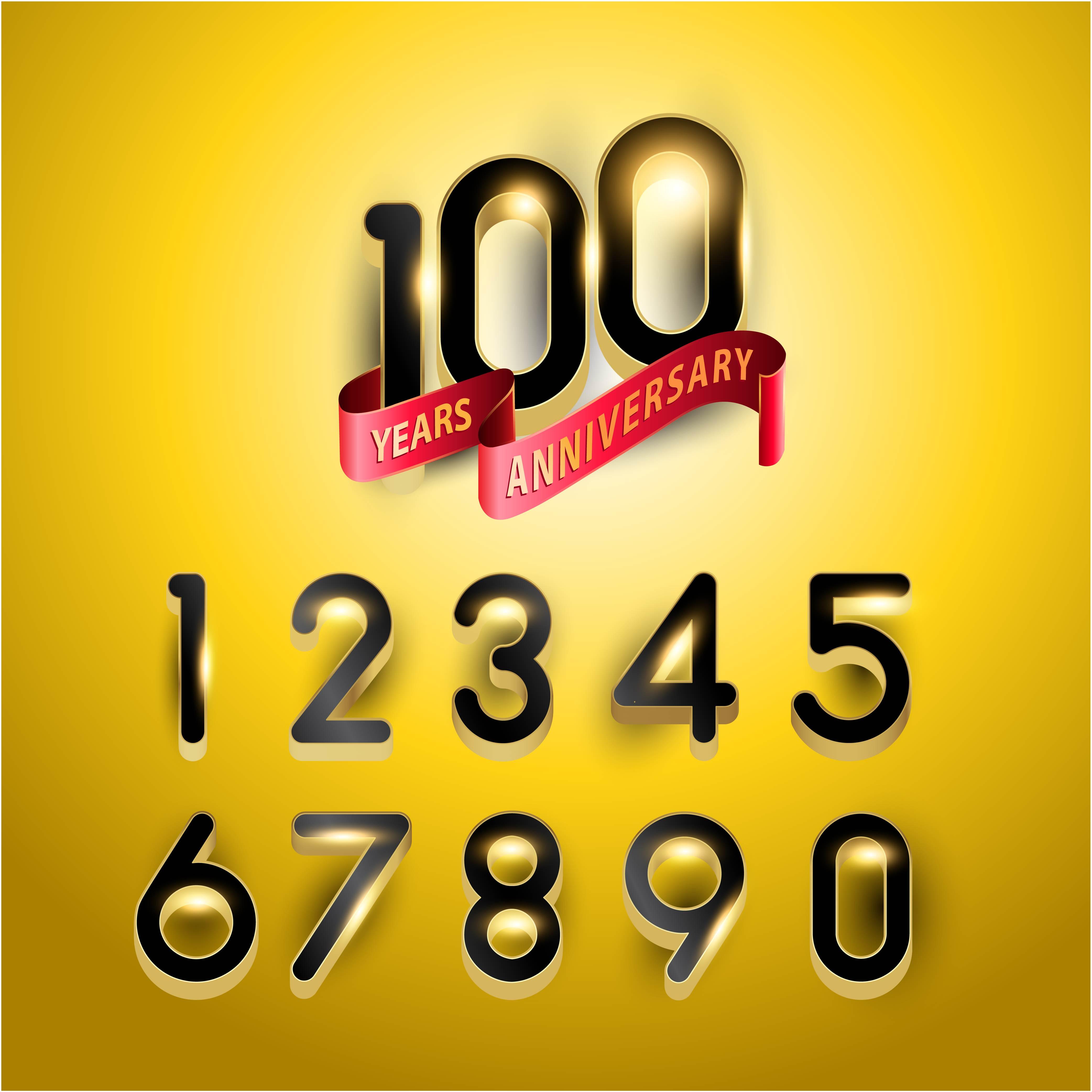 Números de aniversario de oro de 100 años con cinta roja