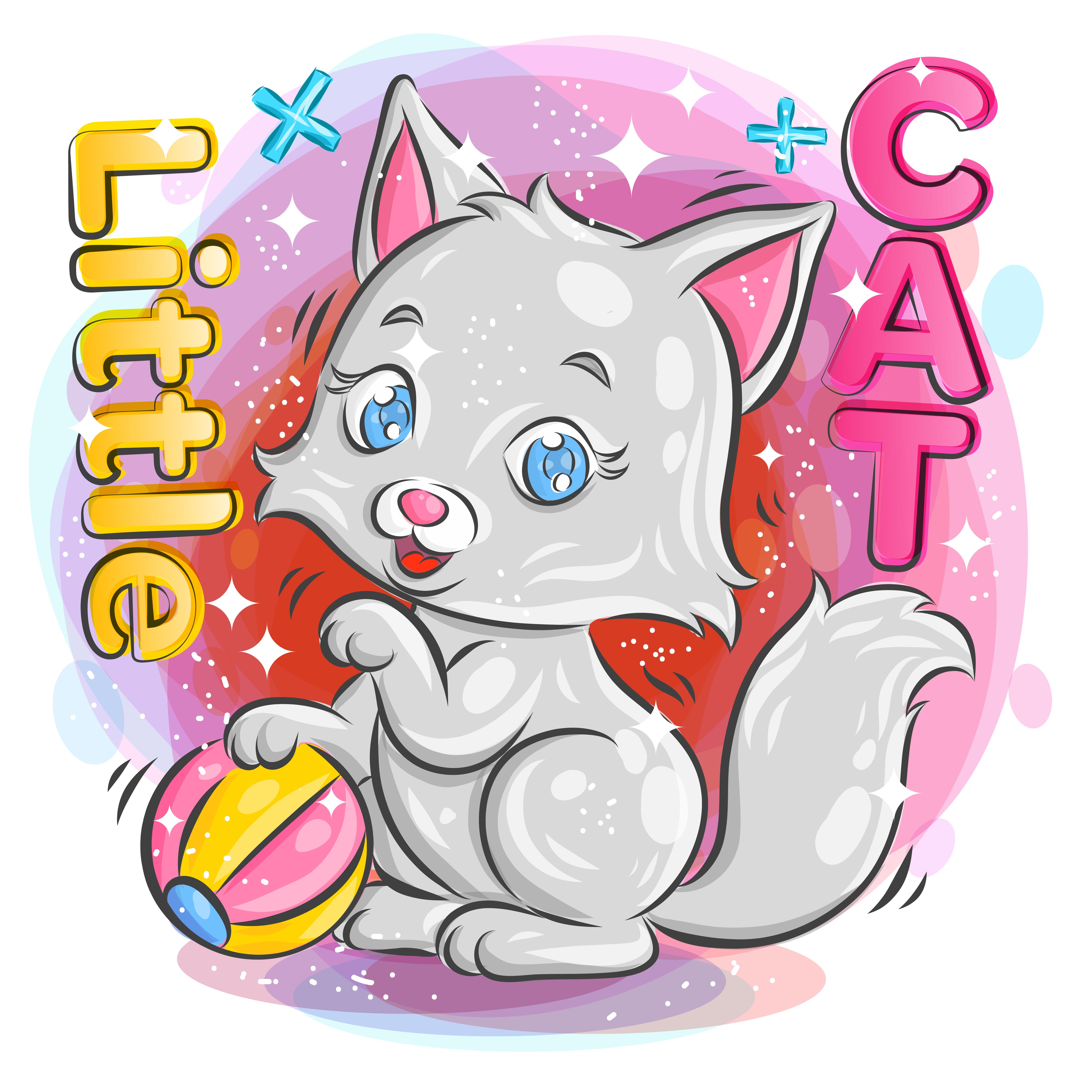 gatinho fofo brincando com uma bola colorida vetor