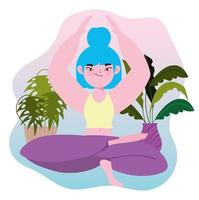 Young woman in lotus position  vector