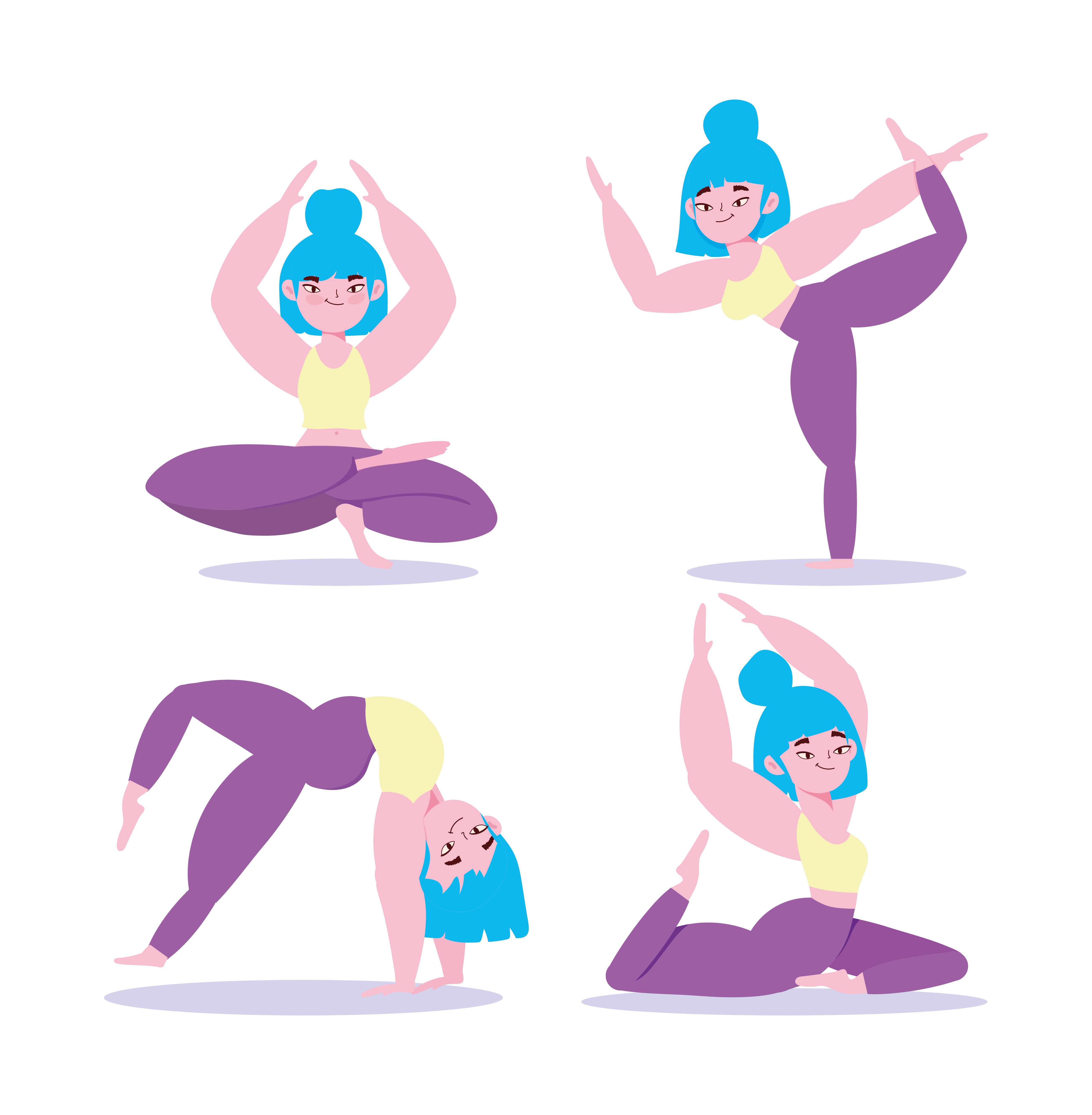 conjunto de asanas de yoga