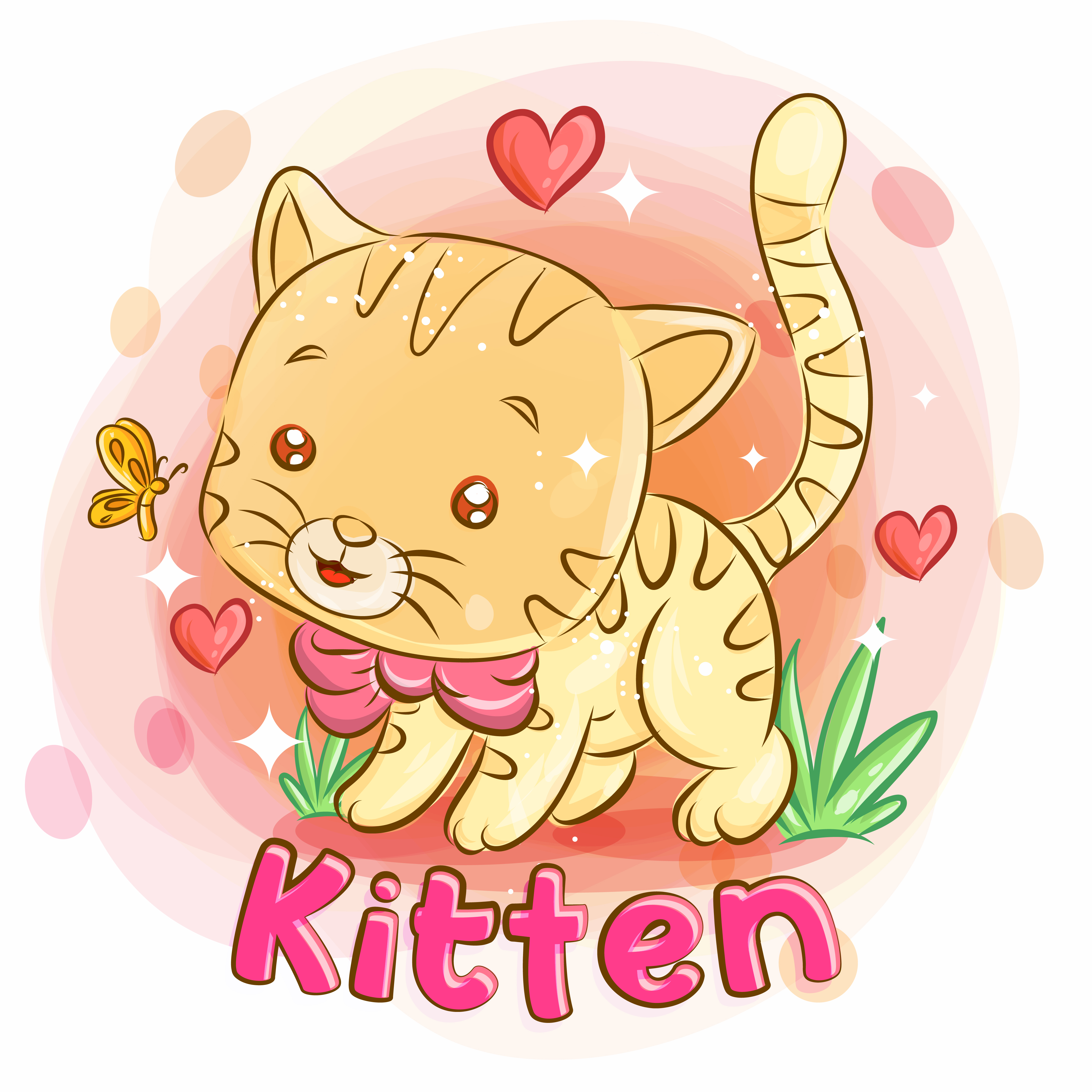 Cute Kitten Playing in the Garden and Feeling Love vector