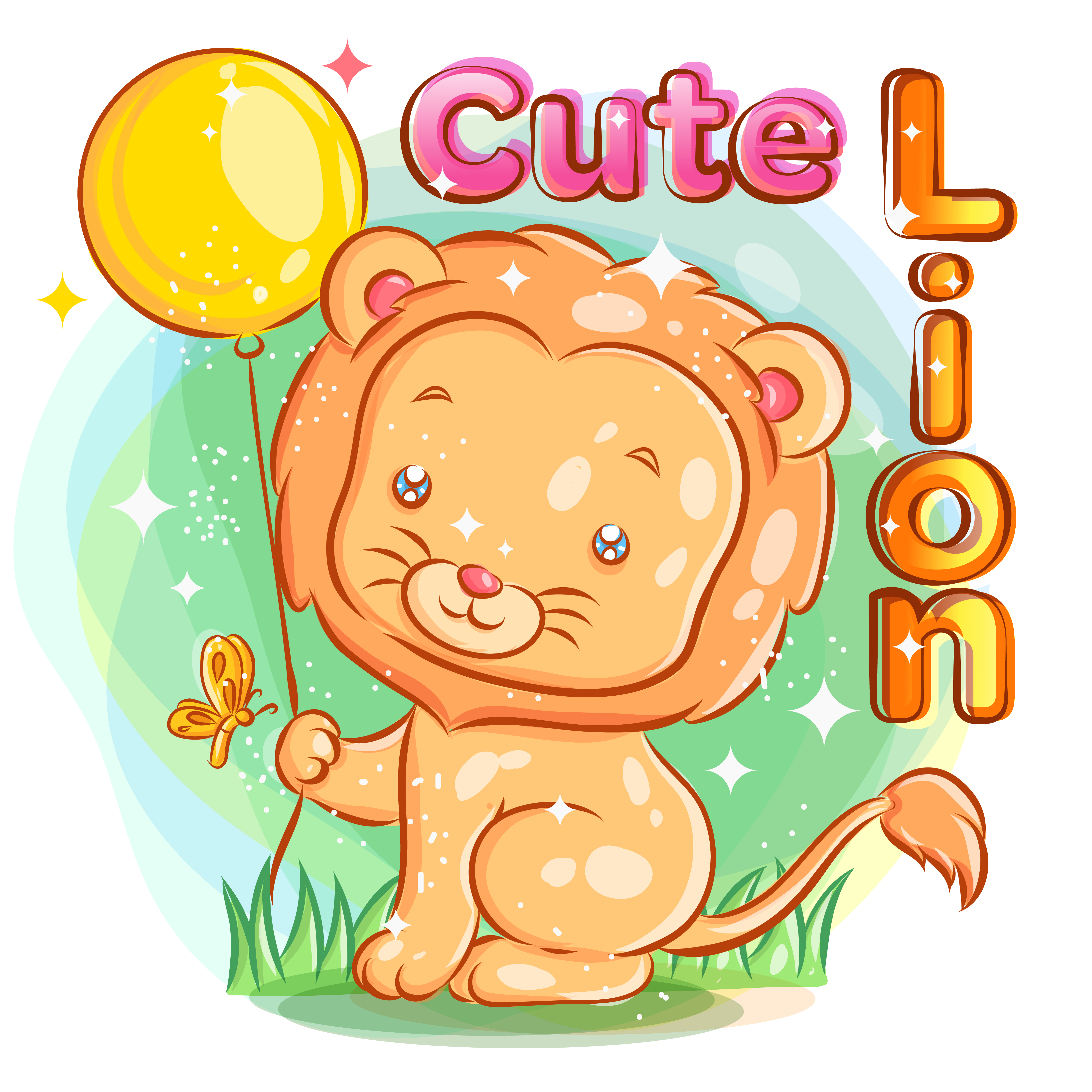 Cute Lion Holding a Yellow Balloon with Butterfly