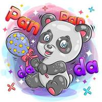 Cute Panda with Cheerful Expression Playing with Toy vector