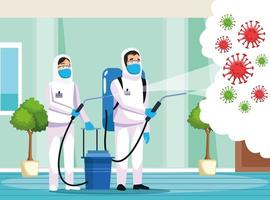 Biohazard cleaning persons with sprayer against COVID 19 vector