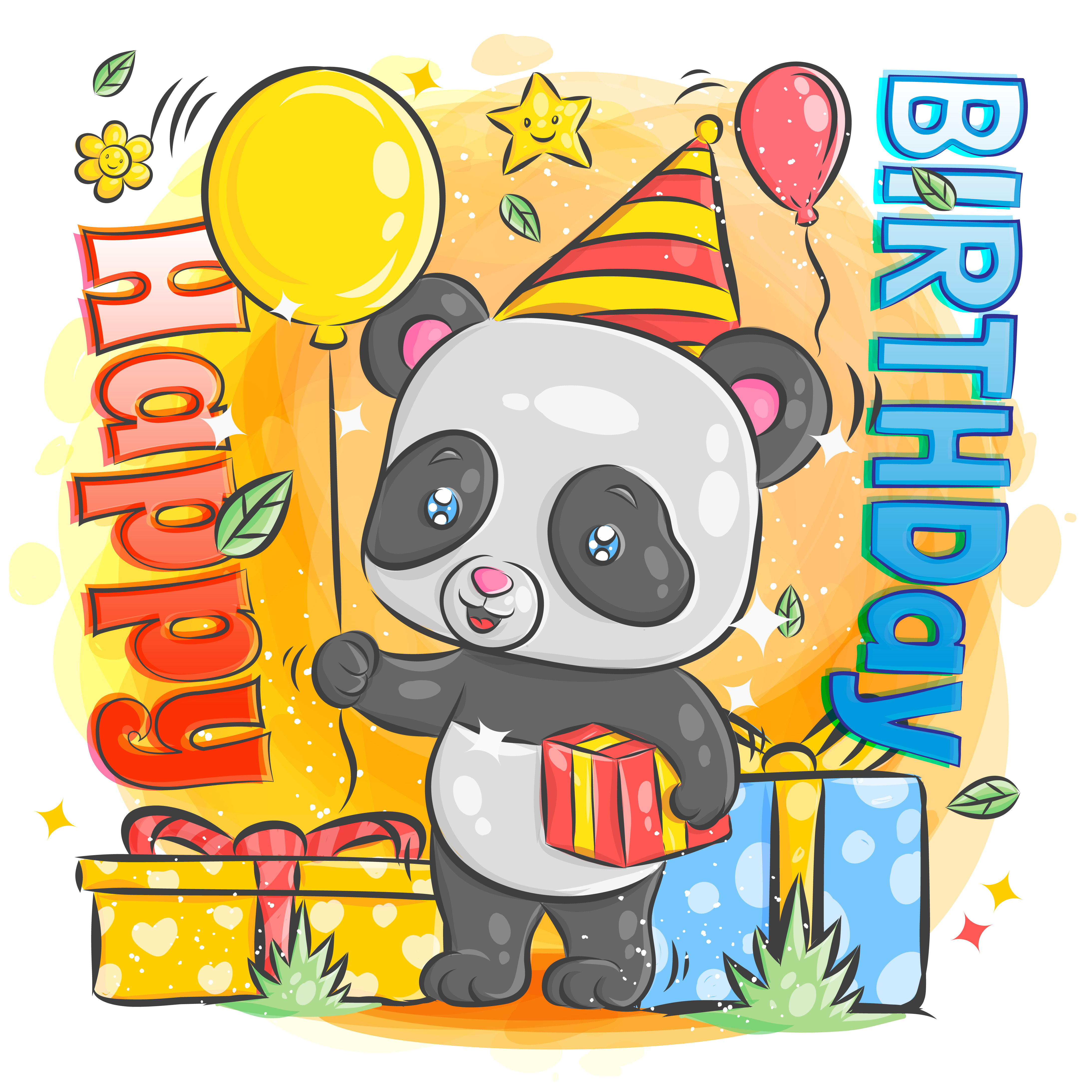 Cute happy birthday card with cartoon Panda. Watercolor panda clip art and  beauty boho pink flowers, floral. lamp light and leaf for greeting card on  Stock Photo - Alamy