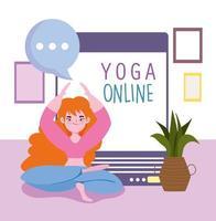 Online yoga training vector