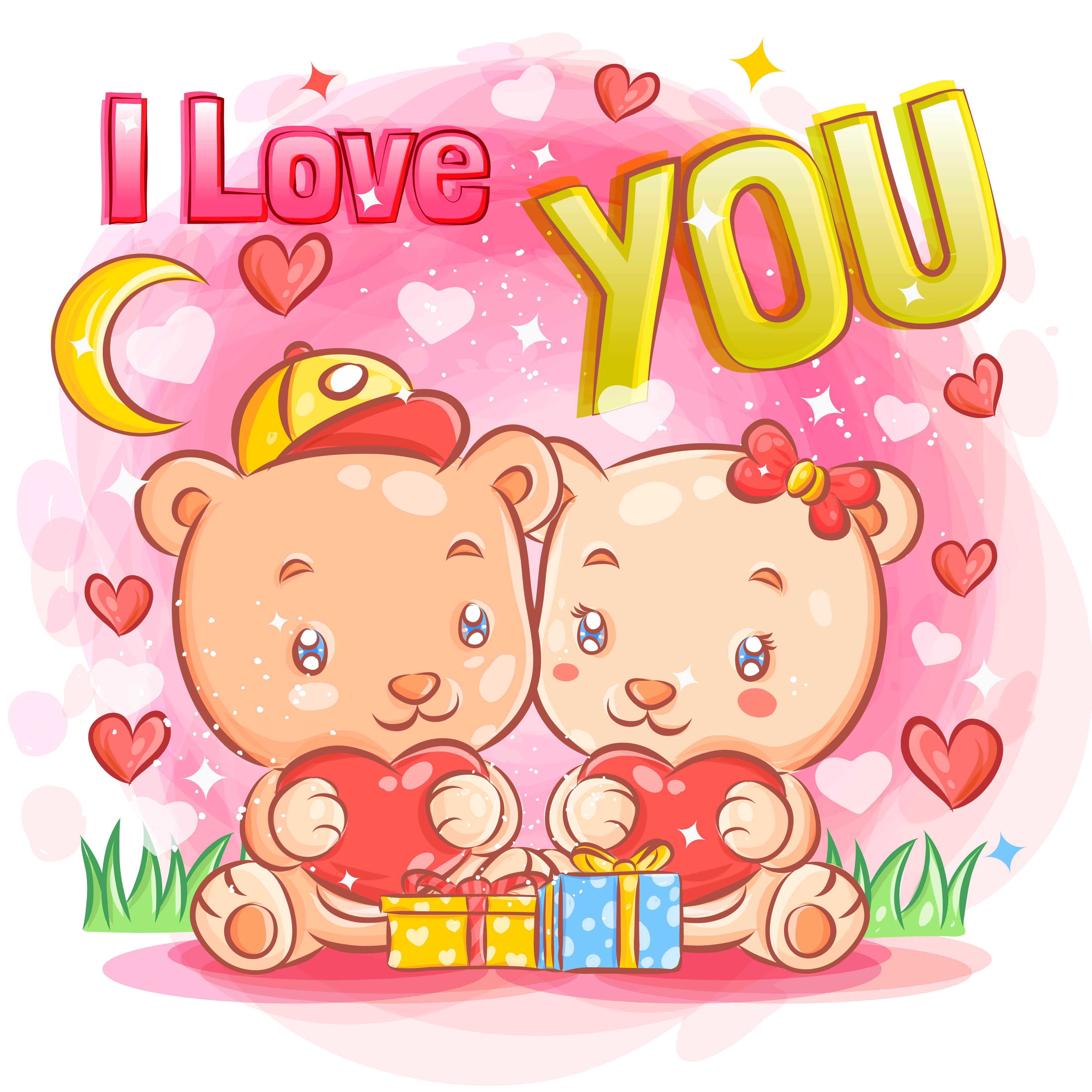 Cute Bear Couple Feeling in Love on Valentine's Day