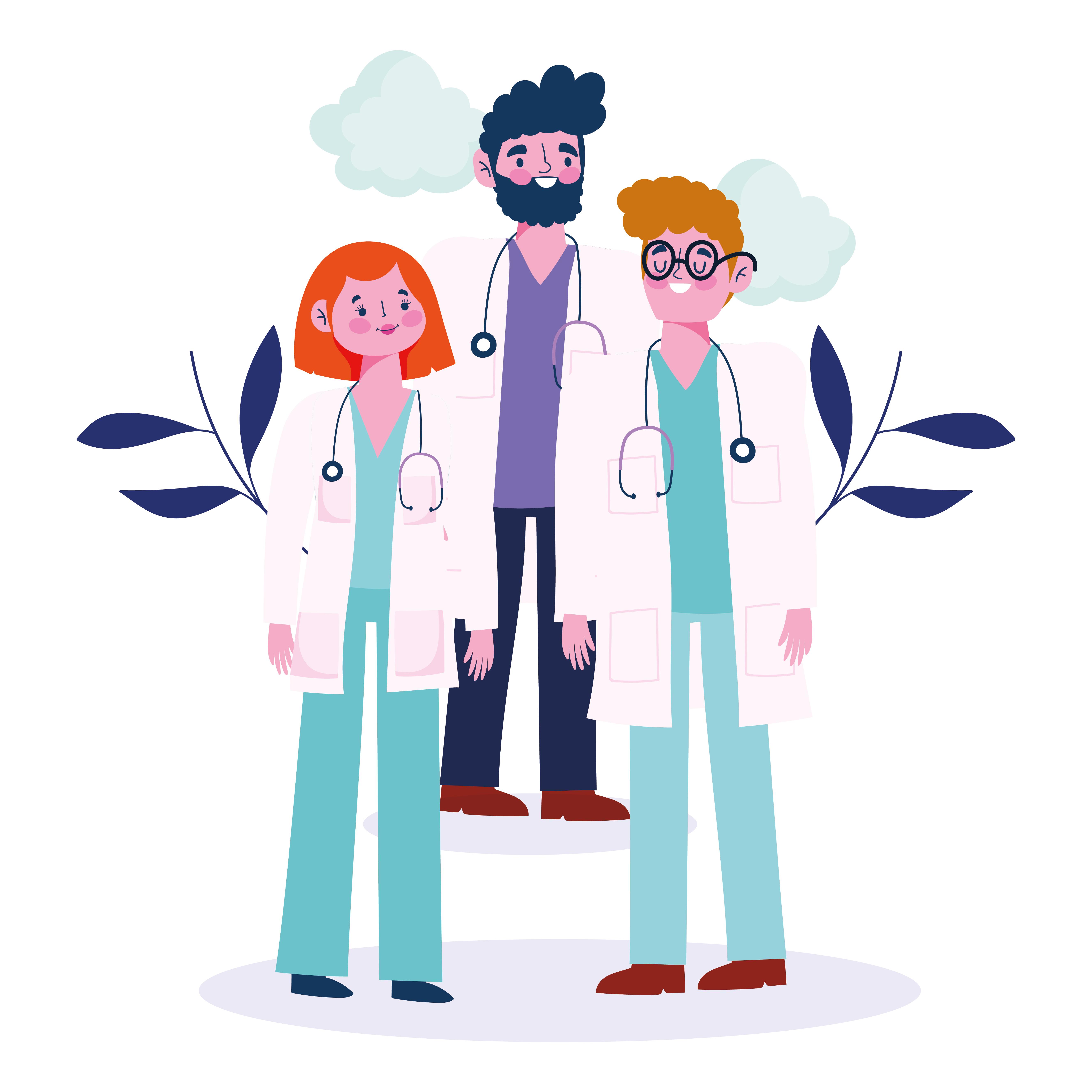grupo de médicos con follaje y nubes