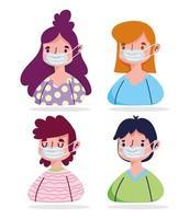jóvenes con máscara protectora conjunto médico vector