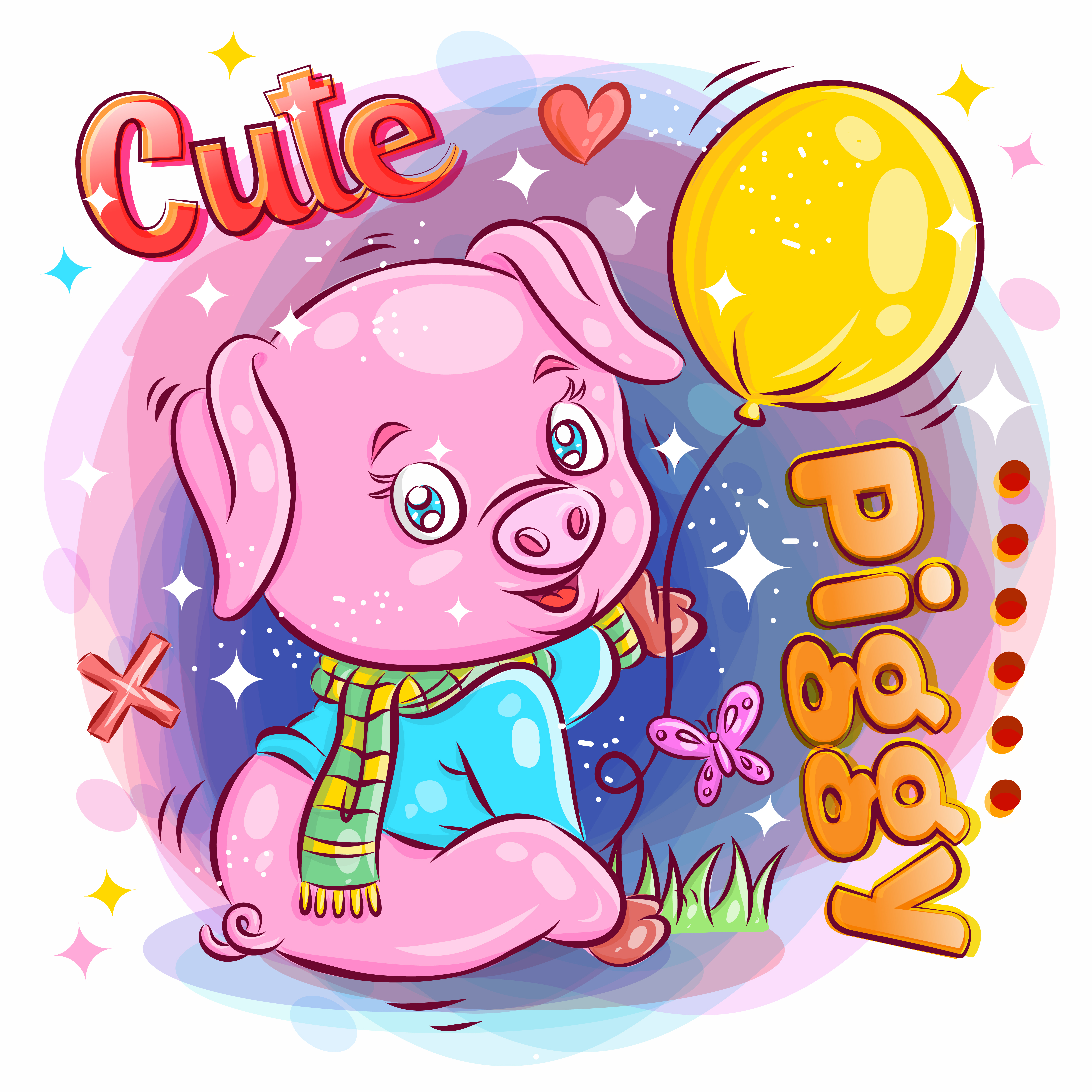 Cute Pig Holding and Playing with Balloon