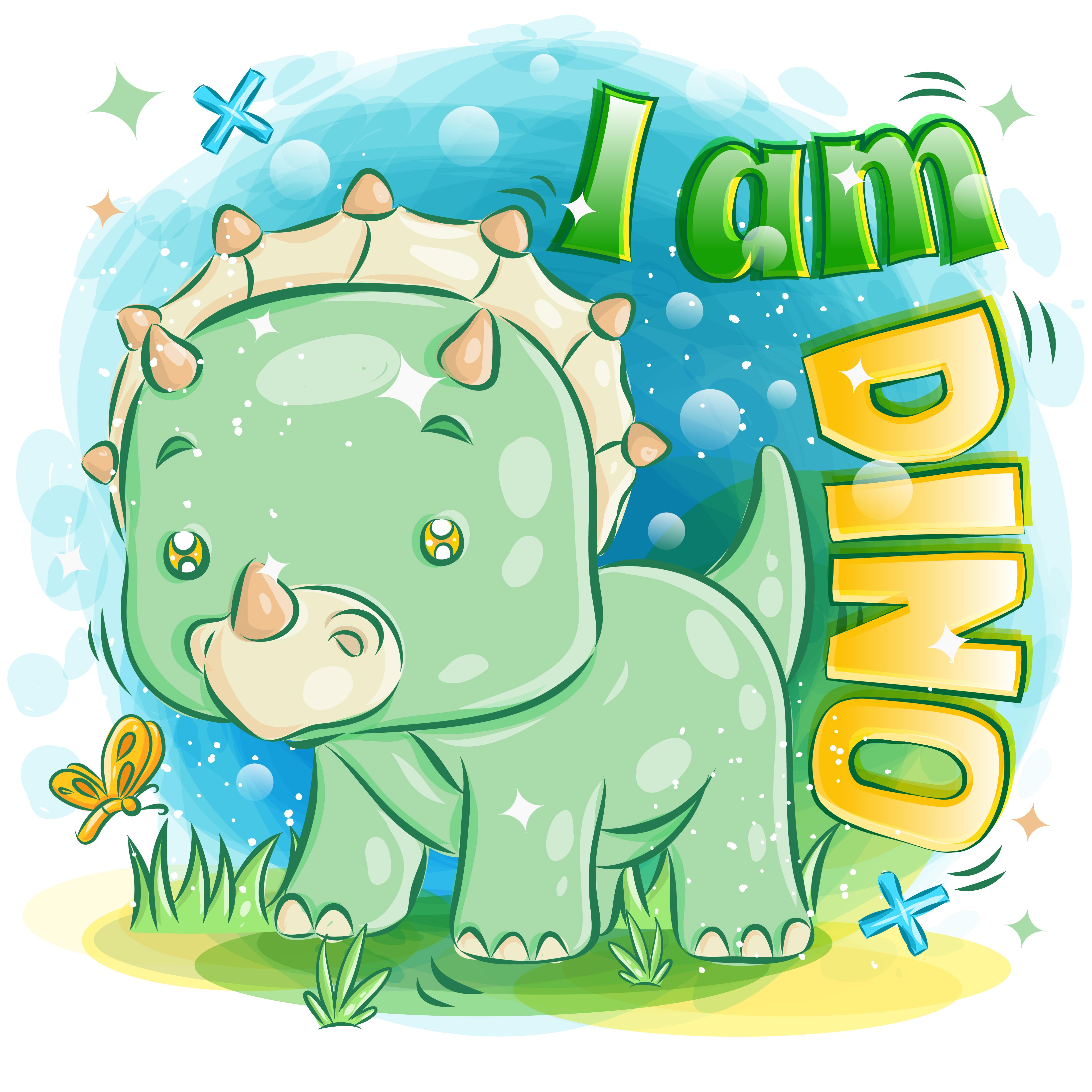lindo triceratops verde jugando con mariposa vector