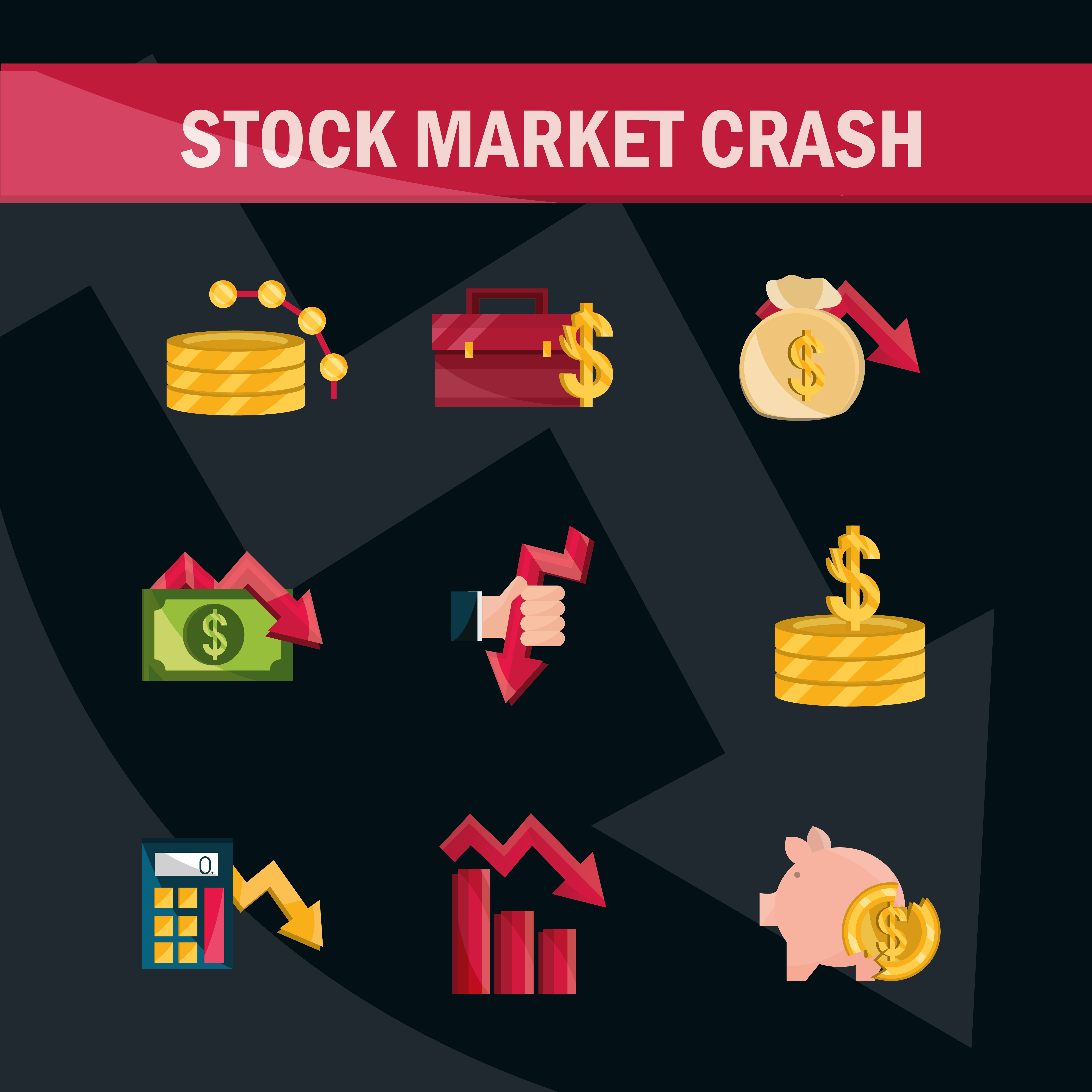 conjunto de iconos de caída del mercado de valores