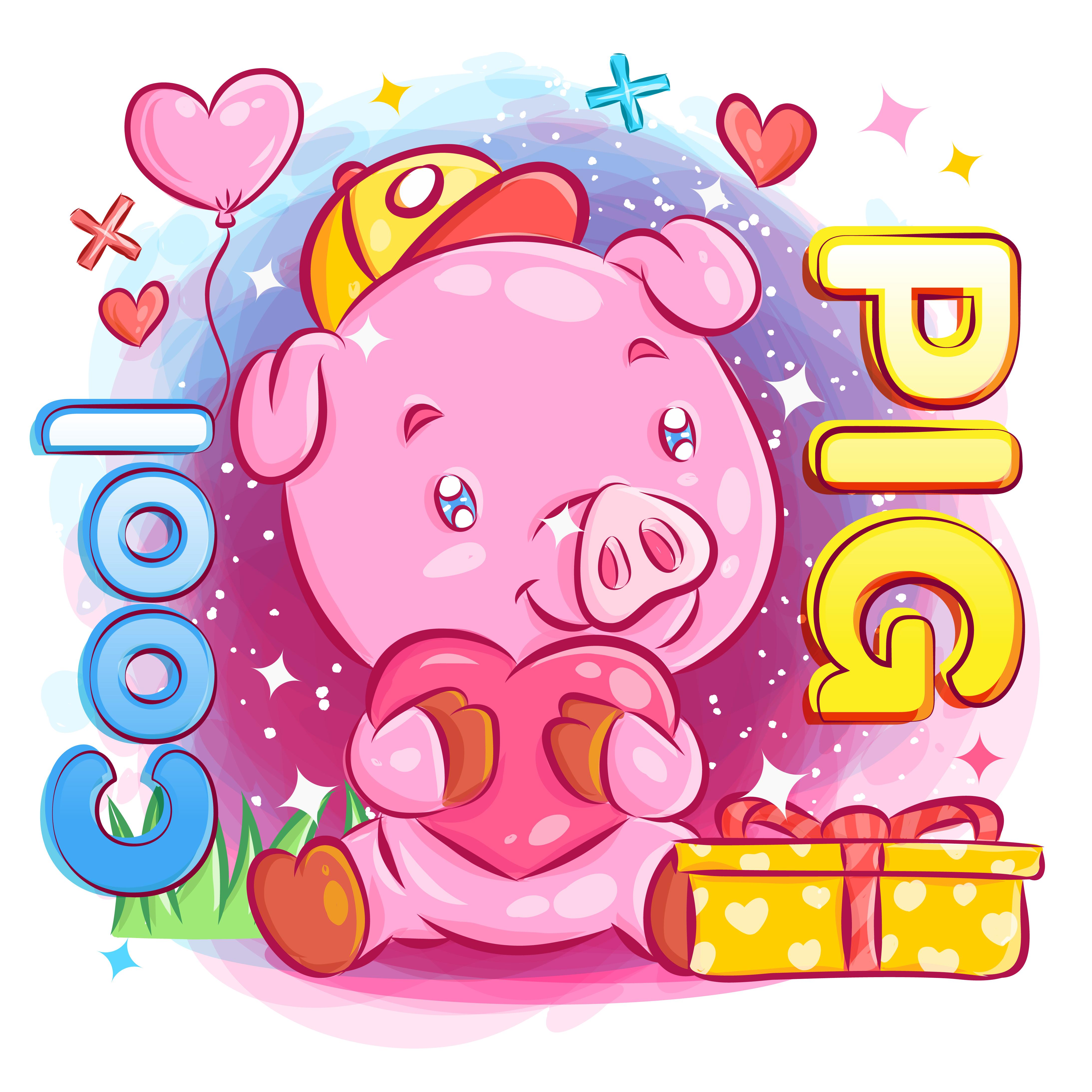 chico genial cerdo sintiéndose enamorado y sosteniendo el corazón
