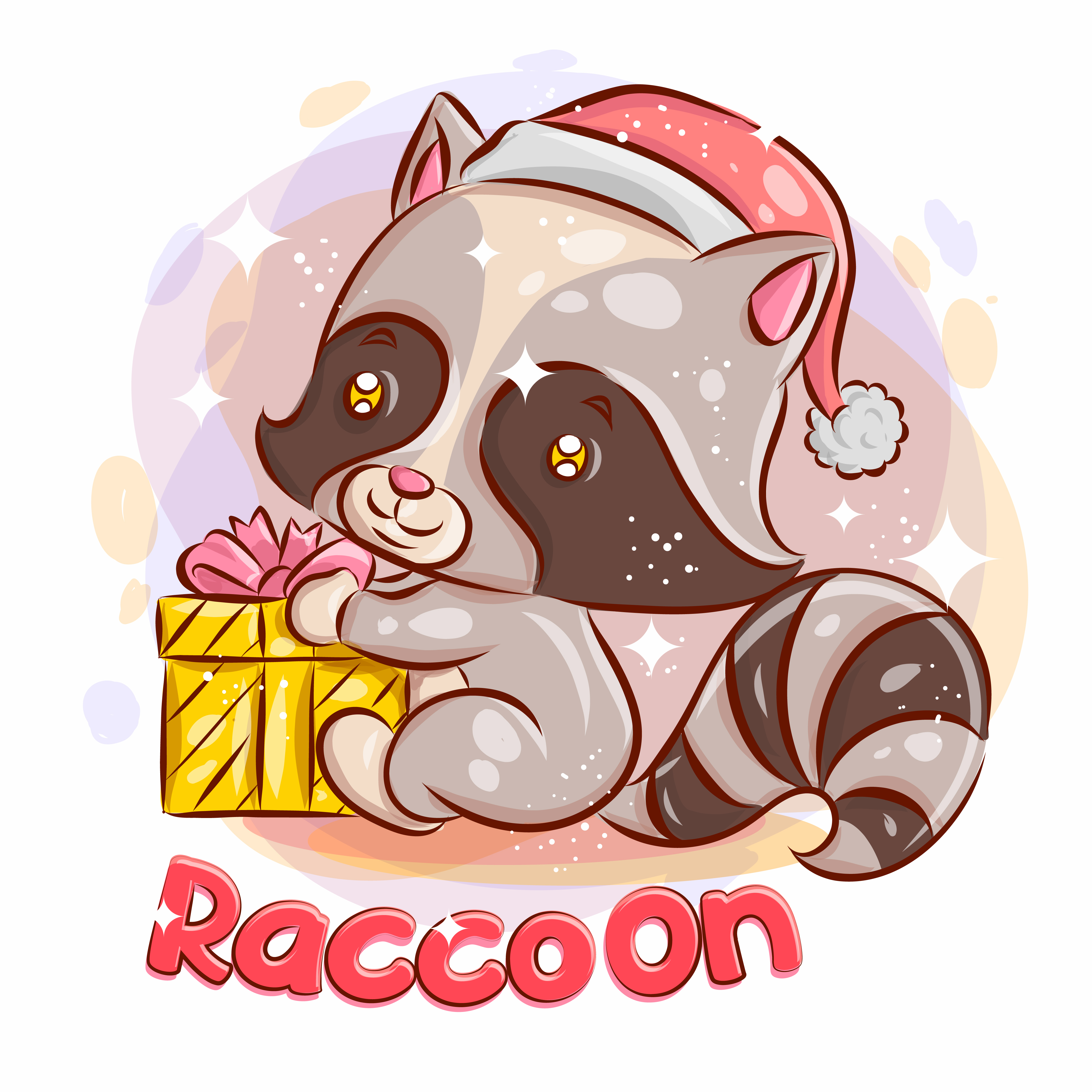 Cute Raccoon with a Christmas Gift. vector