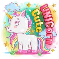 Cute Unicorn Feeling Happy with Clouds vector