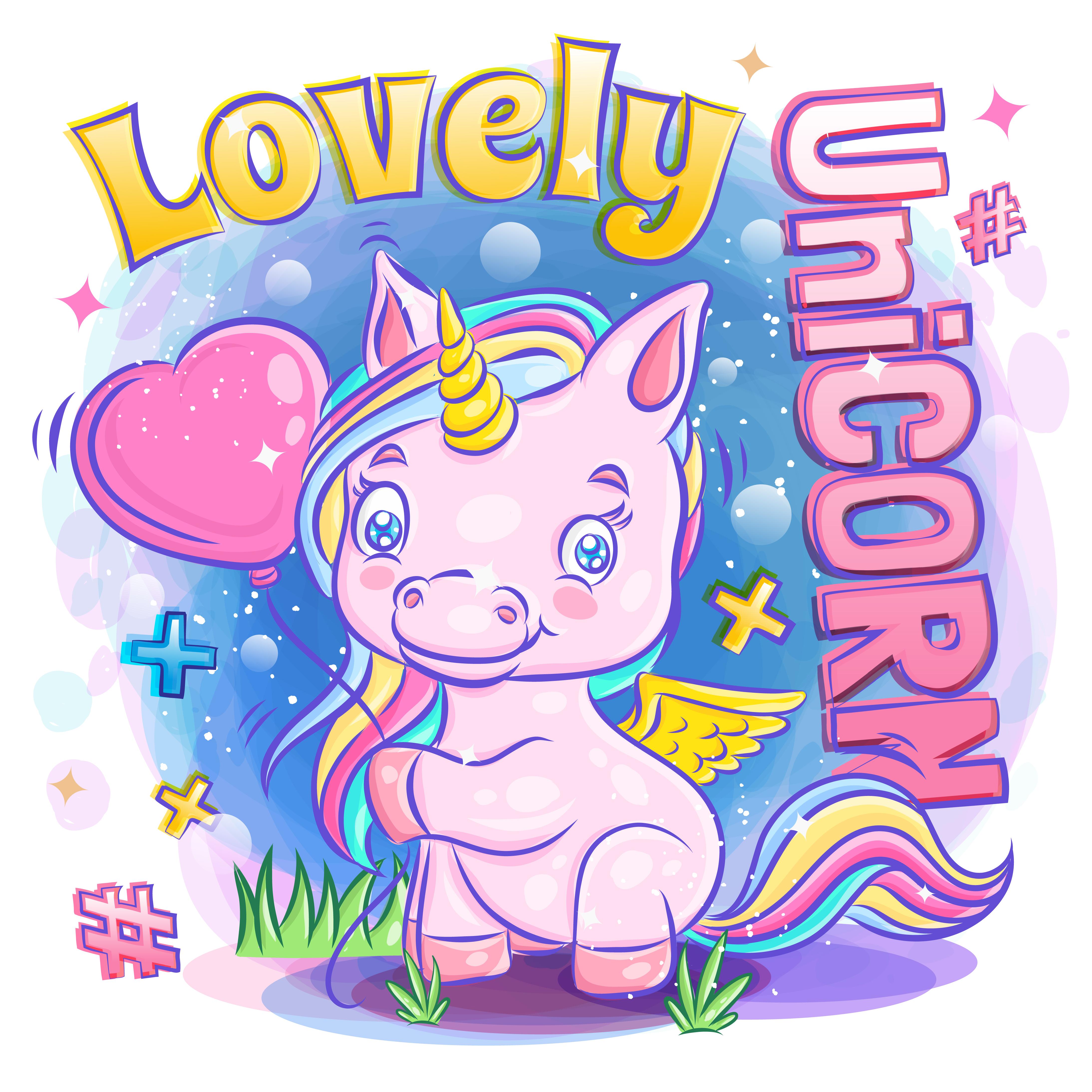 lindo unicornio sonríe y sostiene un globo de amor