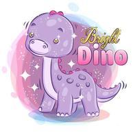 Bright Sparkling Cute Dino vector