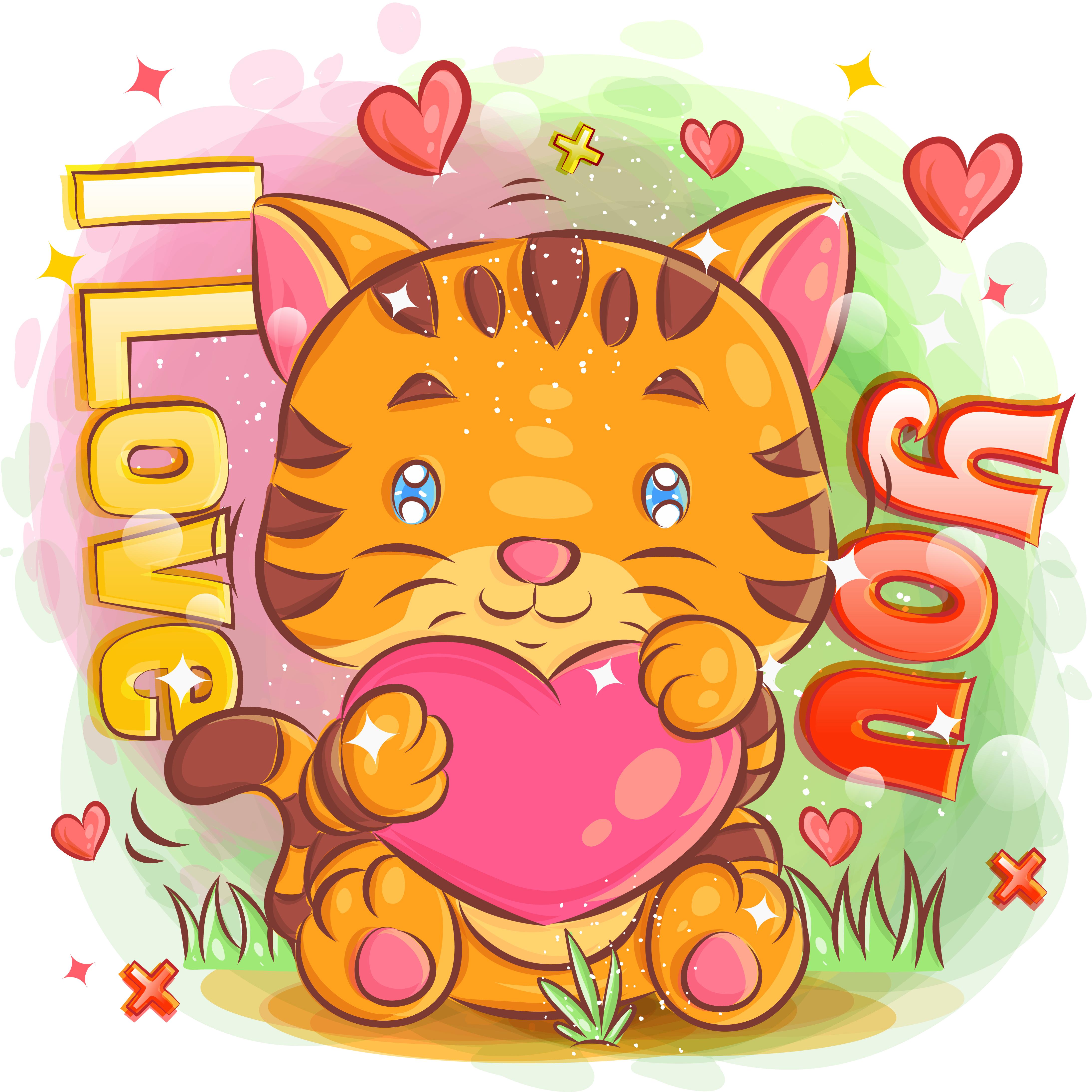 lindo tigre enamorado y sosteniendo un corazón