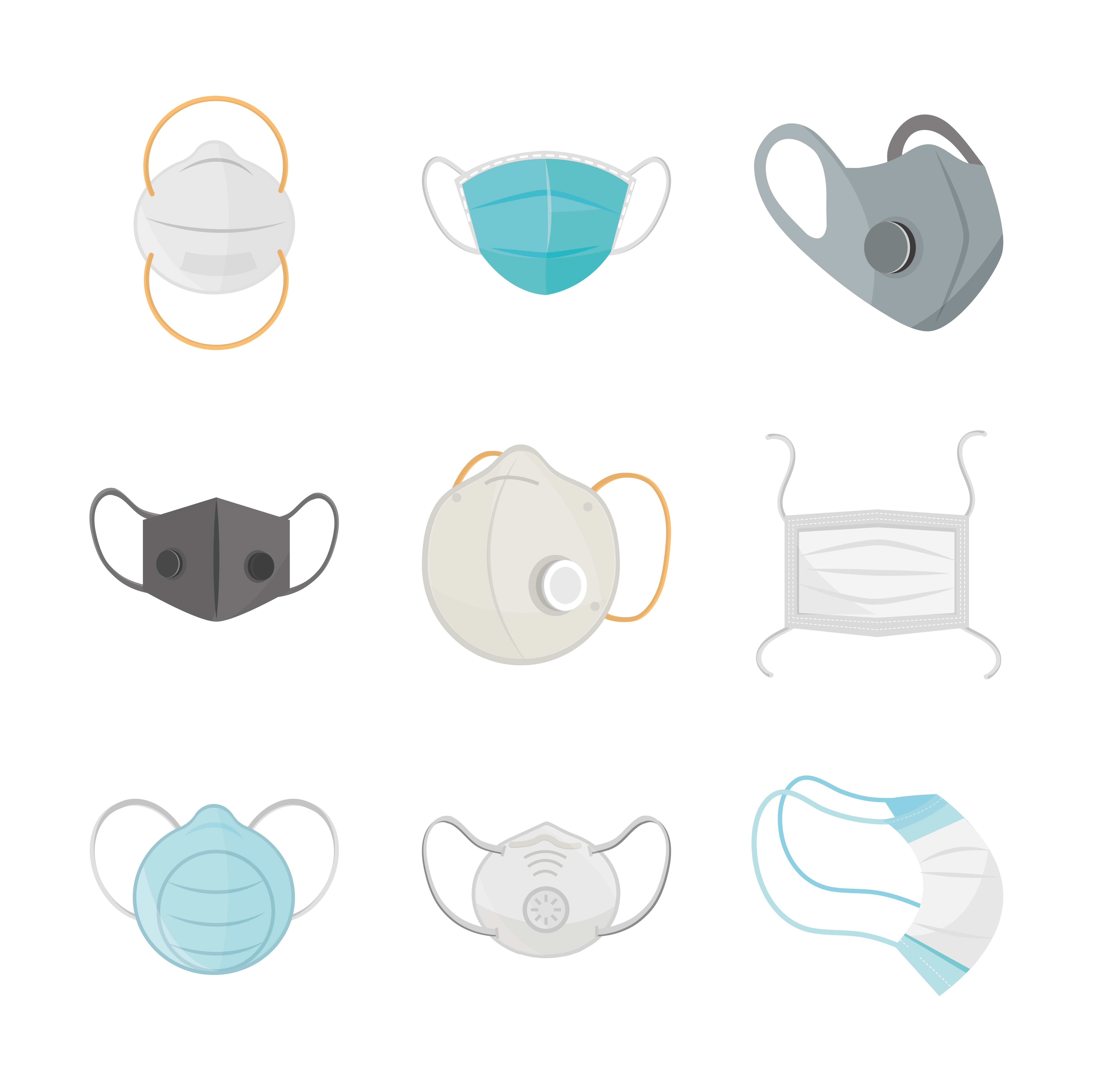 Face masks icon set