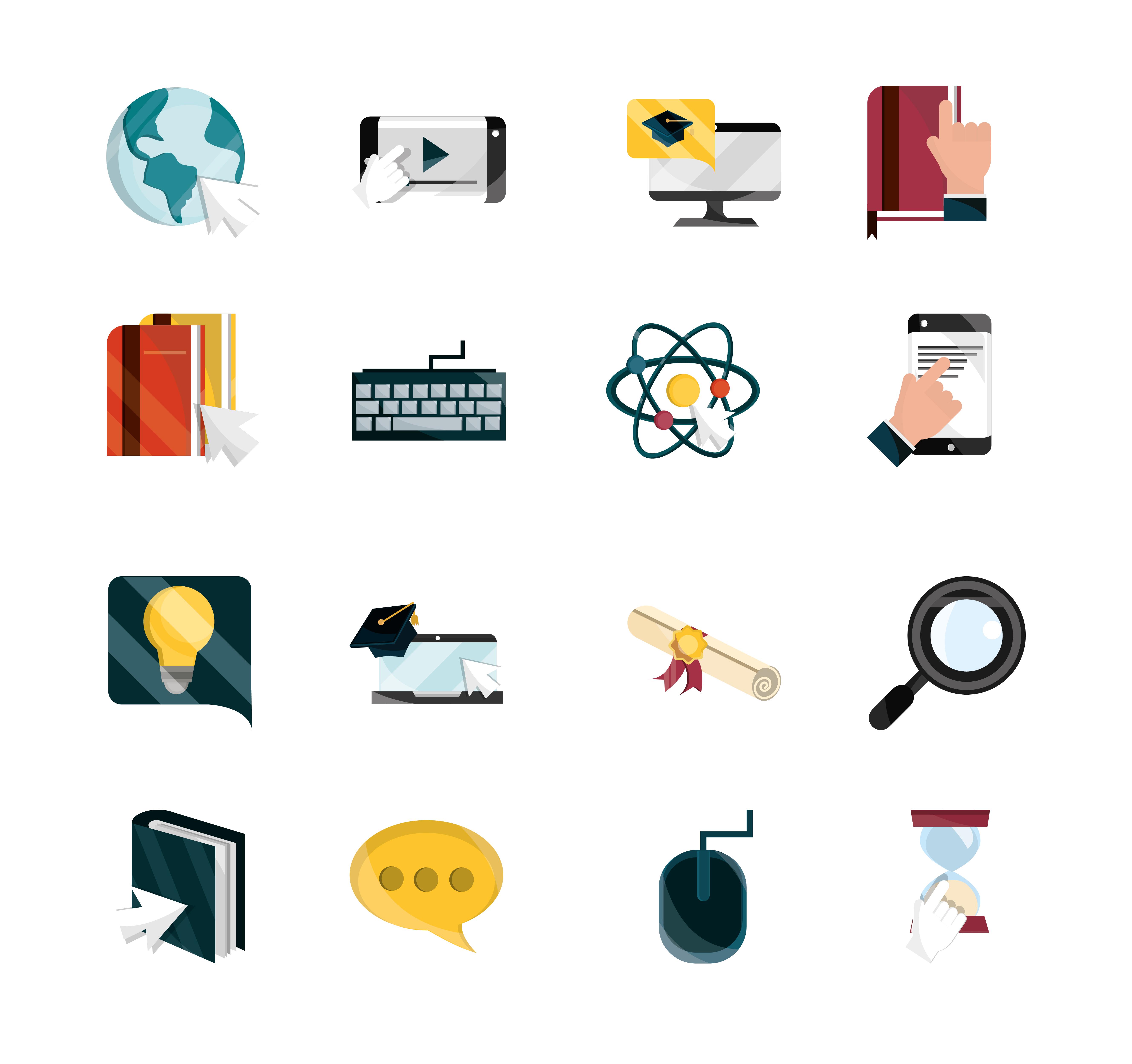 conjunto de ícones de educação