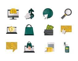 Online commerce icon set  vector