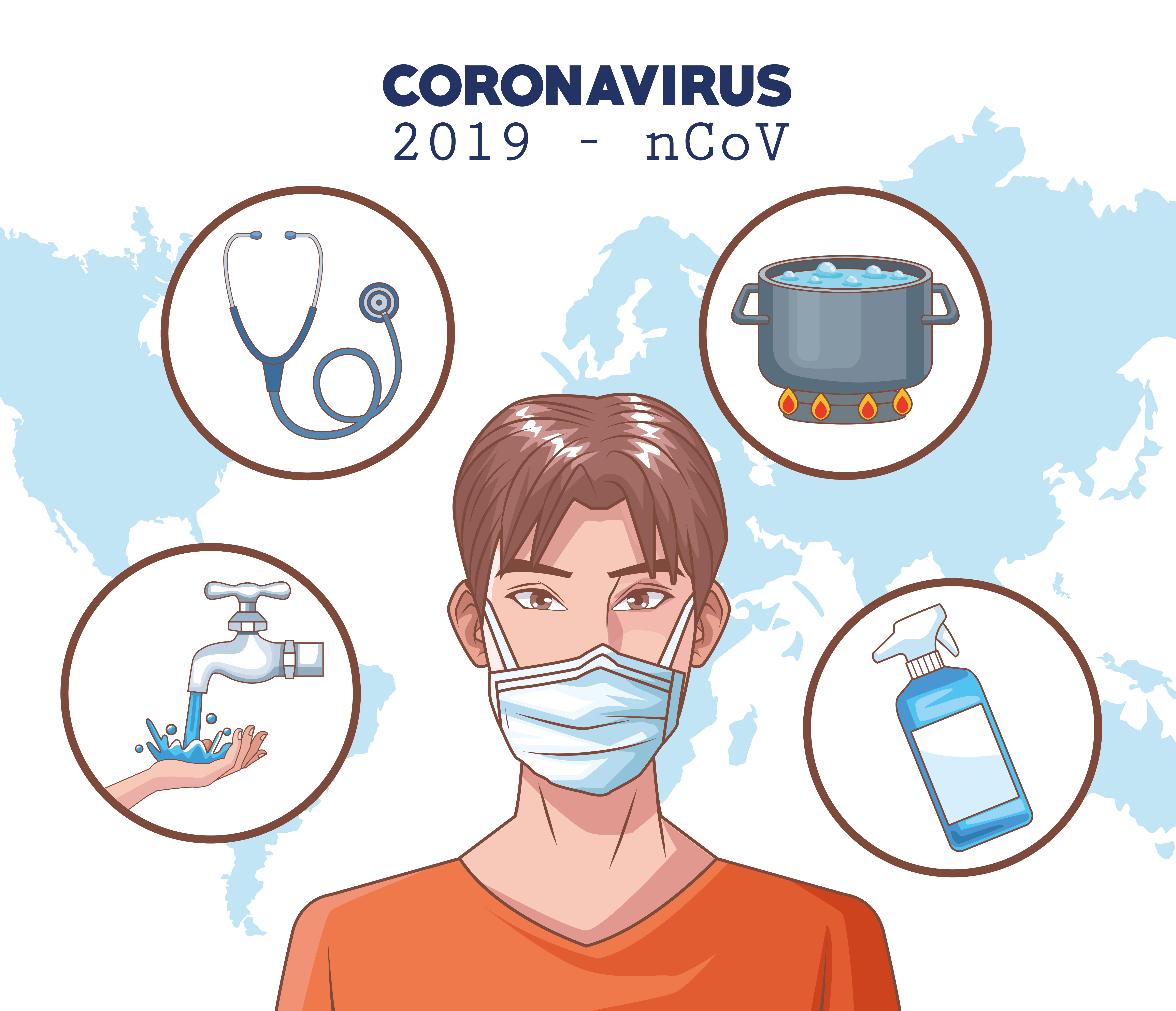 Coronavirus infographic with man using protection mask vector