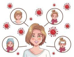 infografía de coronavirus con mujeres enfermas vector