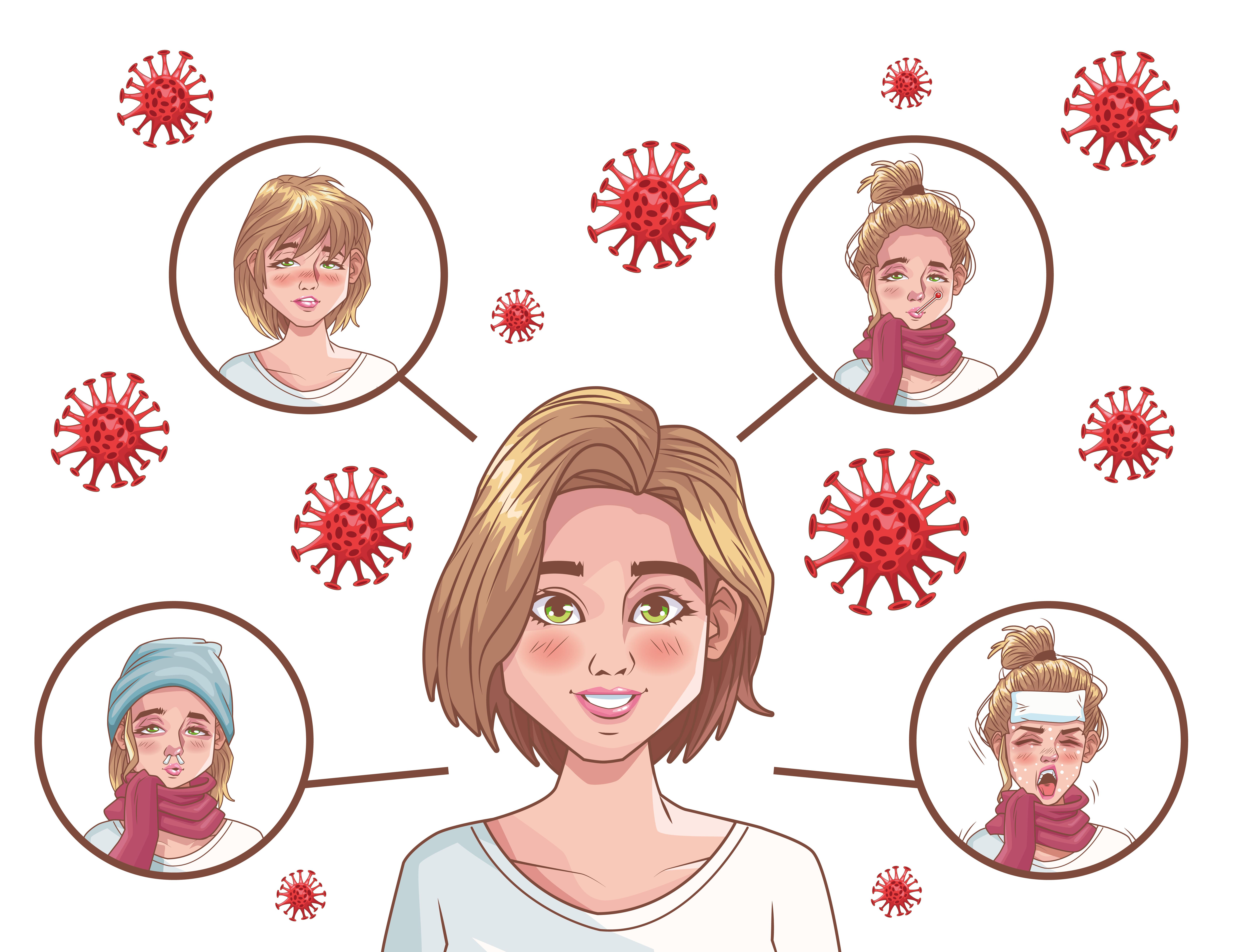 infografía de coronavirus con mujeres enfermas