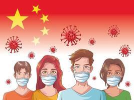 Infografía de coronavirus con personas con máscaras. vector