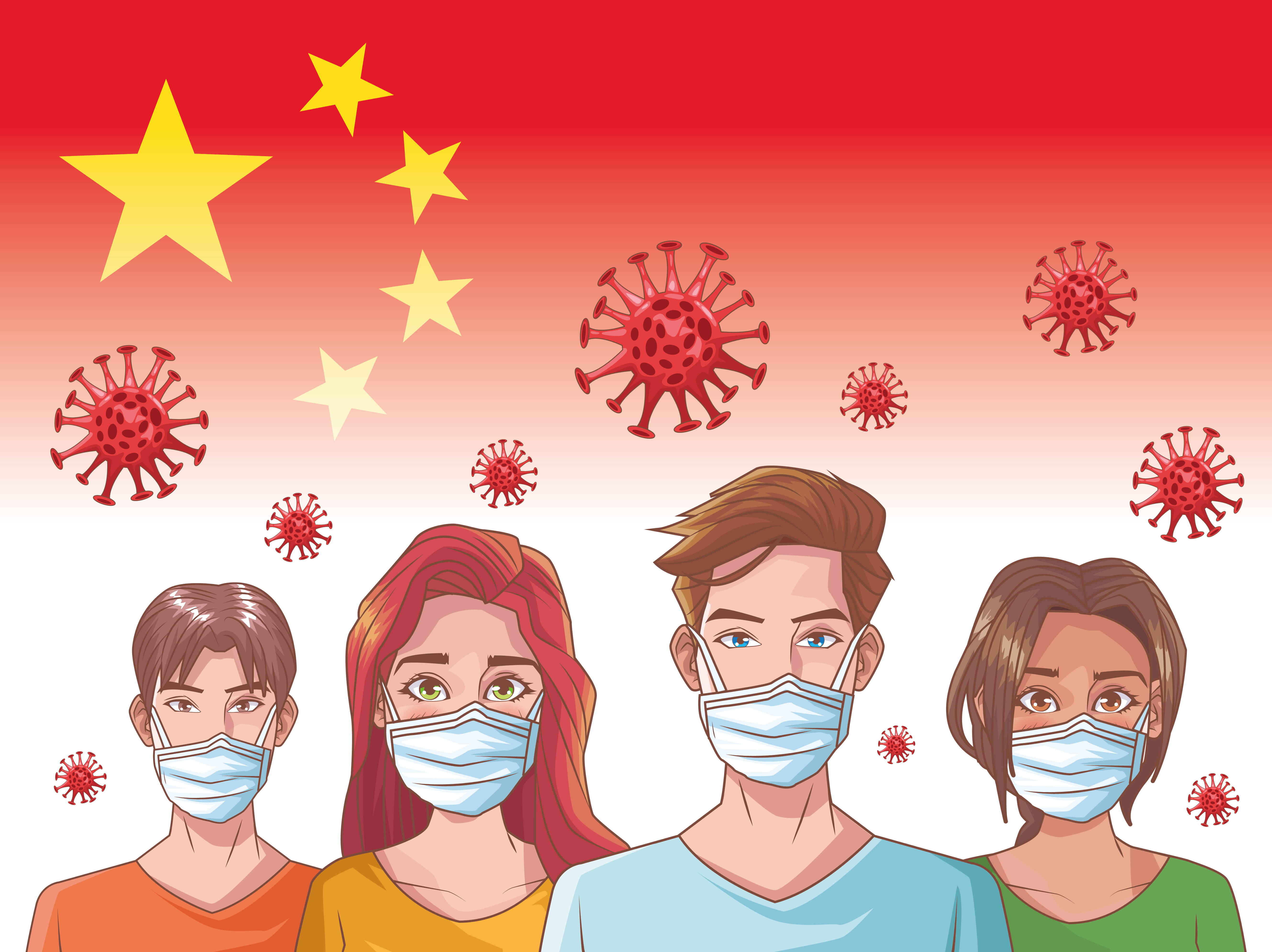 Coronavirus infographic with people wearing masks vector