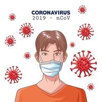 Infografía de coronavirus con hombre usando mascarilla médica. vector