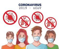 Infografía de coronavirus con personas enmascaradas. vector