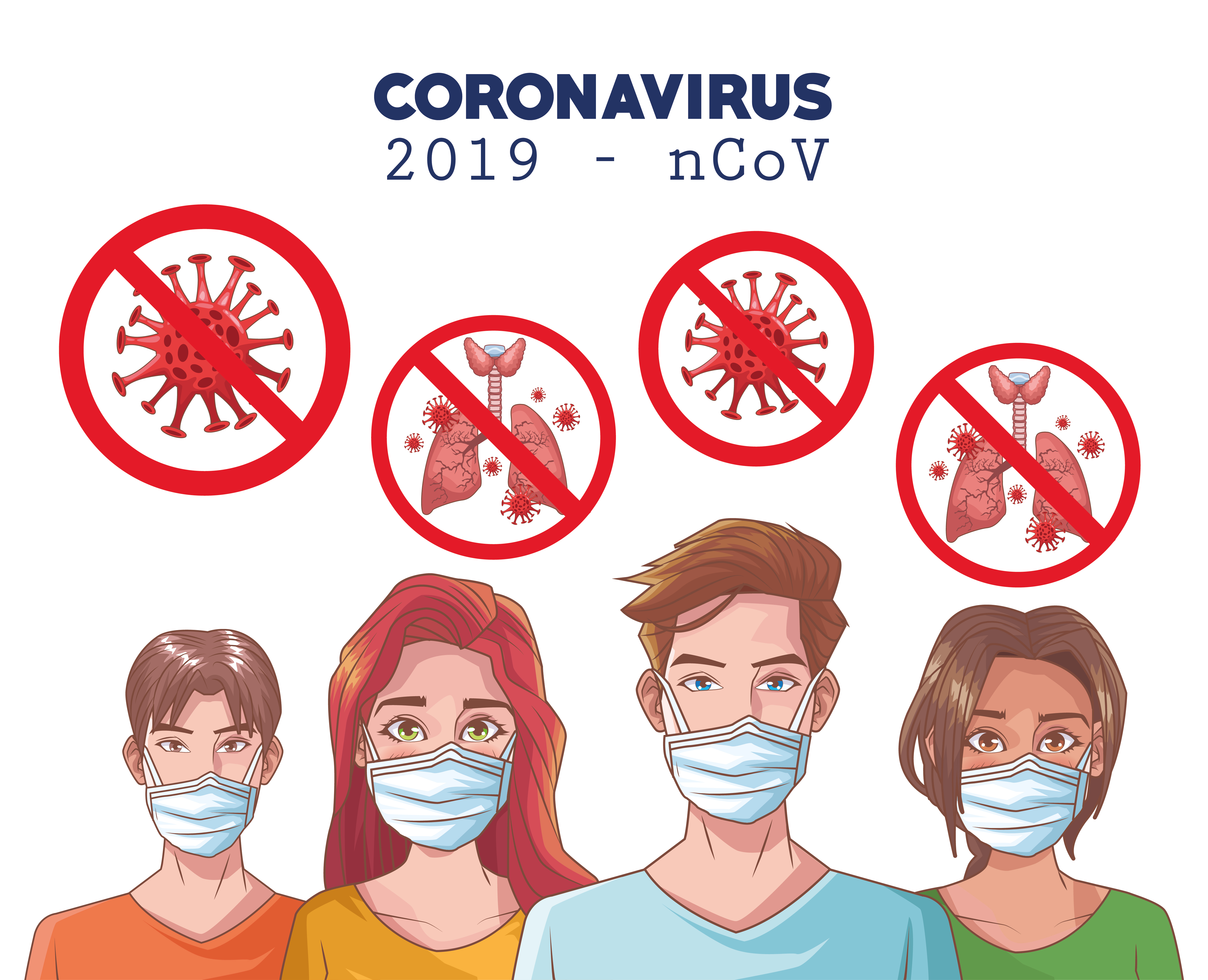 Coronavirus infographic with masked people vector