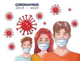 Infografía de coronavirus con personas que usan máscara. vector