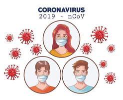 Infografía de coronavirus con personas que usan máscara médica. vector
